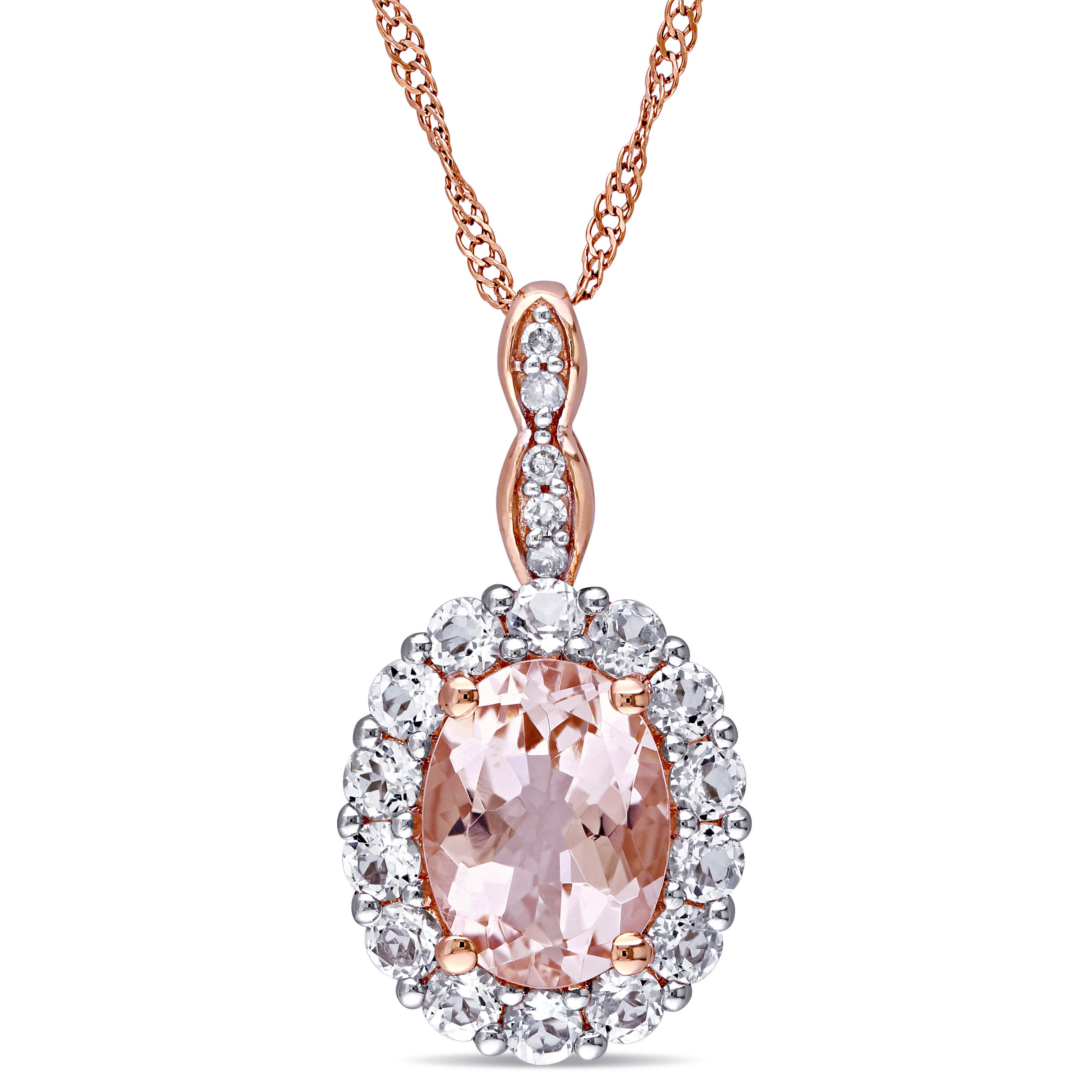 Miadora 14K Rose Gold Oval Cut Morganite, White Topaz And Diamond Accent Halo Drop Necklace Inside Most Recent Oval Sparkle Halo Pendant Necklaces (Gallery 7 of 25)