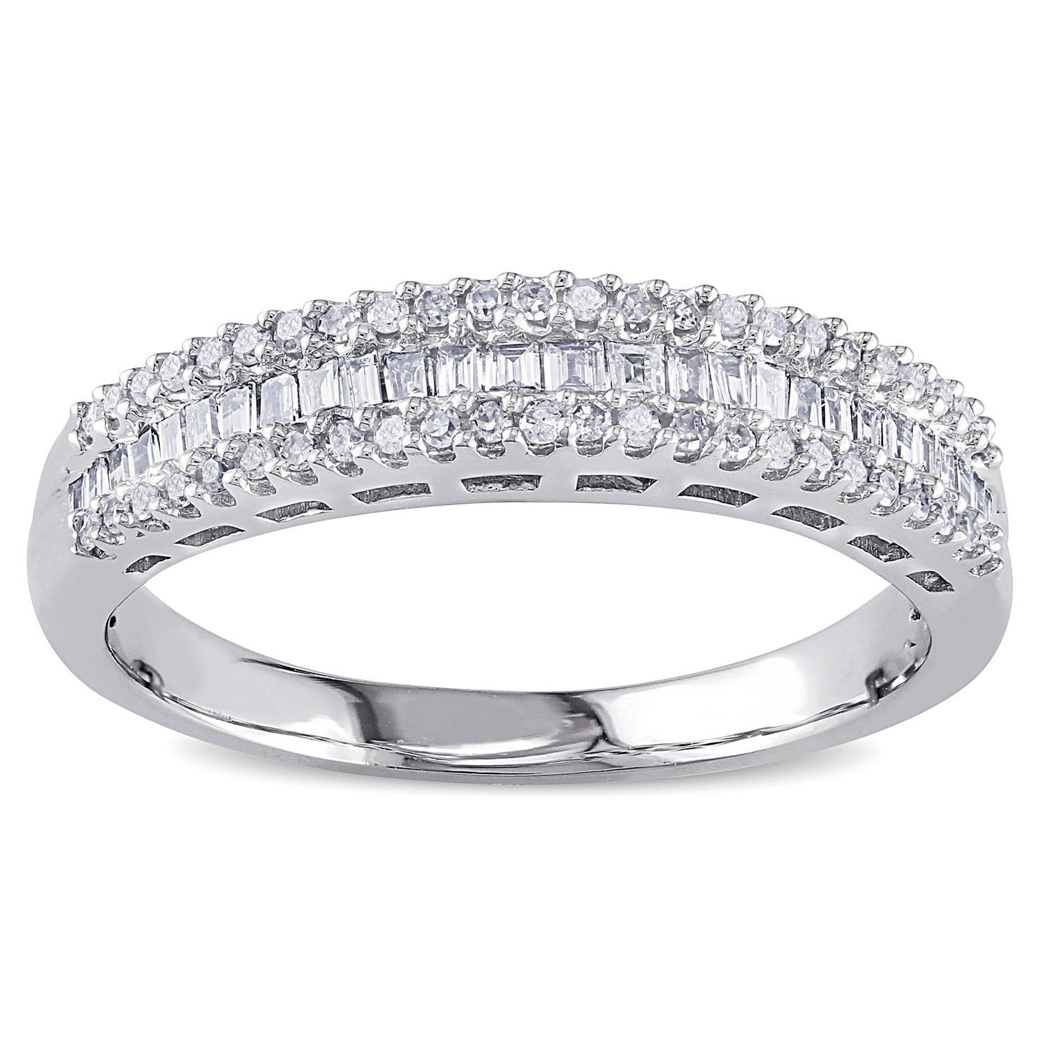 Miadora 14k White Gold 1/3ct Tdw Baguette Diamond Anniversary Band With Regard To Most Up To Date Baguette And Round Diamond Multi Row Anniversary Ring In White Gold (View 14 of 25)