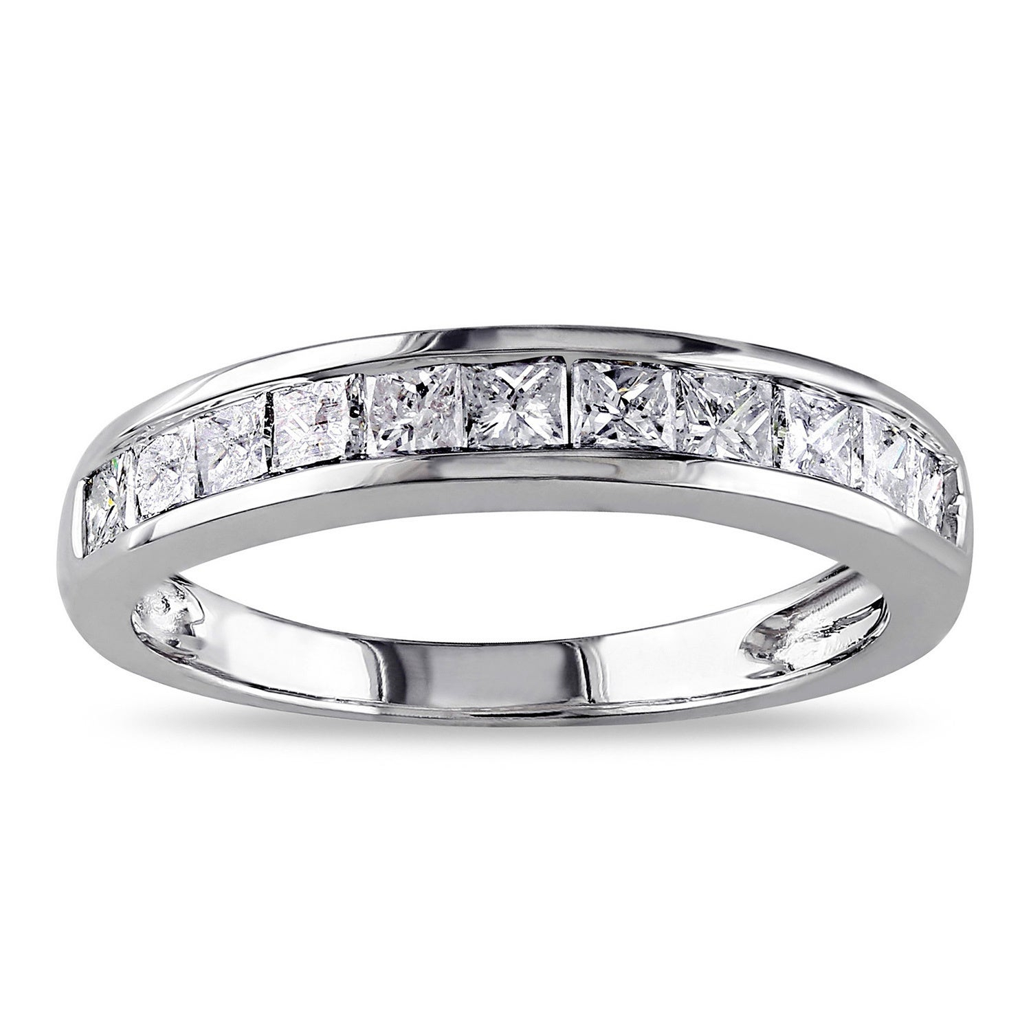 Miadora 14K White Gold 3/4Ct Tdw Channel Set Princess Cut Diamond  Anniversary Band (G H, I2 I3) Regarding Most Popular Baguette Diamond Channel Set Anniversary Bands In White Gold (View 16 of 25)