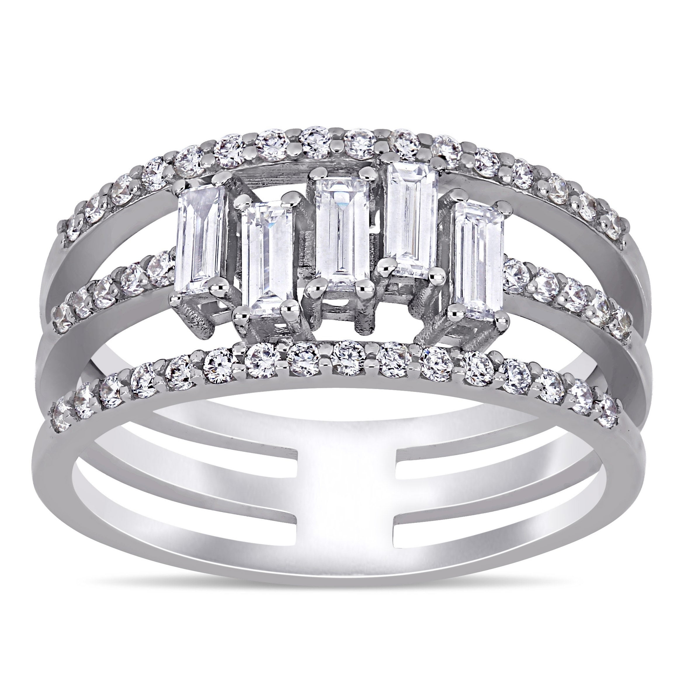 Miadora 14k White Gold 5/8ct Tdw Baguette And Round Cut 3 Row Geometric Anniversary Band Ring Inside Current Baguette And Round Diamond Multi Row Anniversary Ring In White Gold (View 6 of 25)