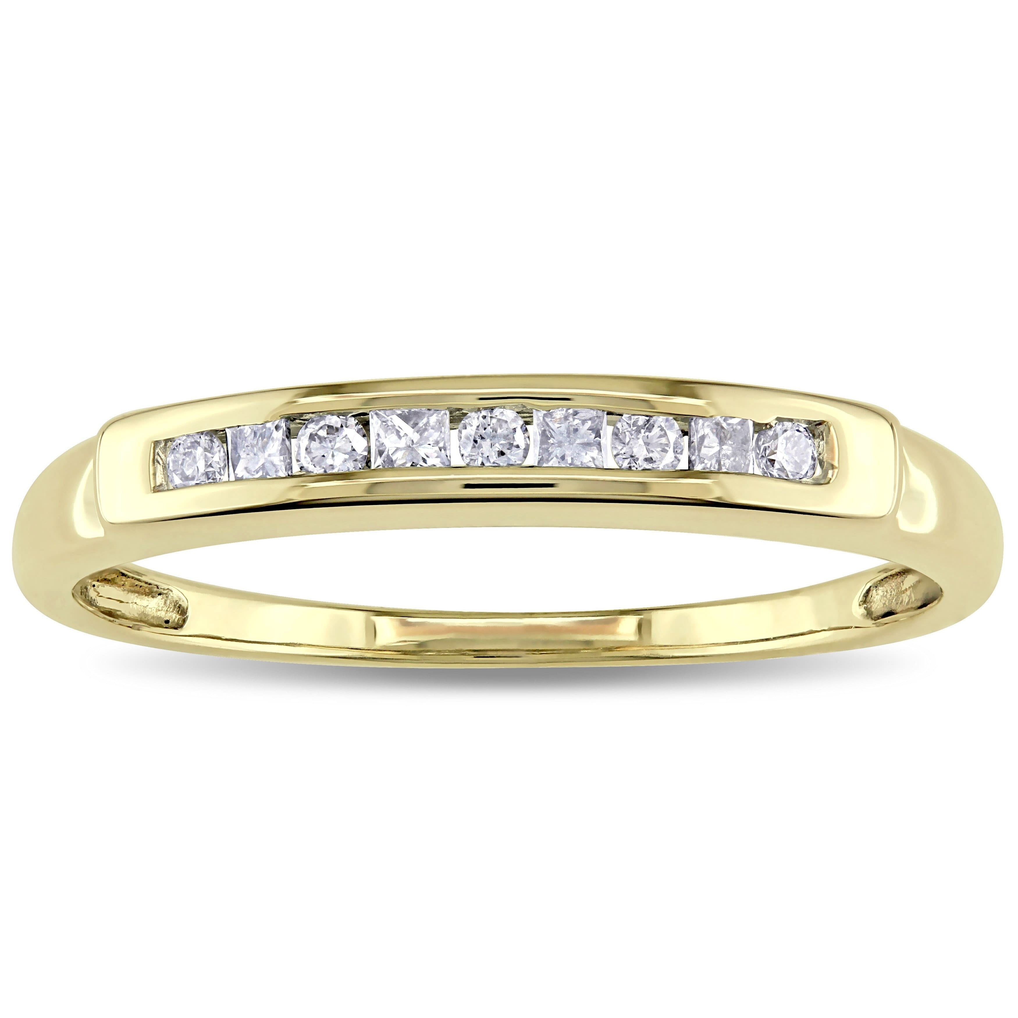 Miadora 14K Yellow Gold 1/5Ct Tdw Round And Princess Cut Channel Set Diamond Anniversary Band – White Throughout 2020 Princess Cut And Round Diamond Anniversary Bands In White Gold (Gallery 12 of 25)