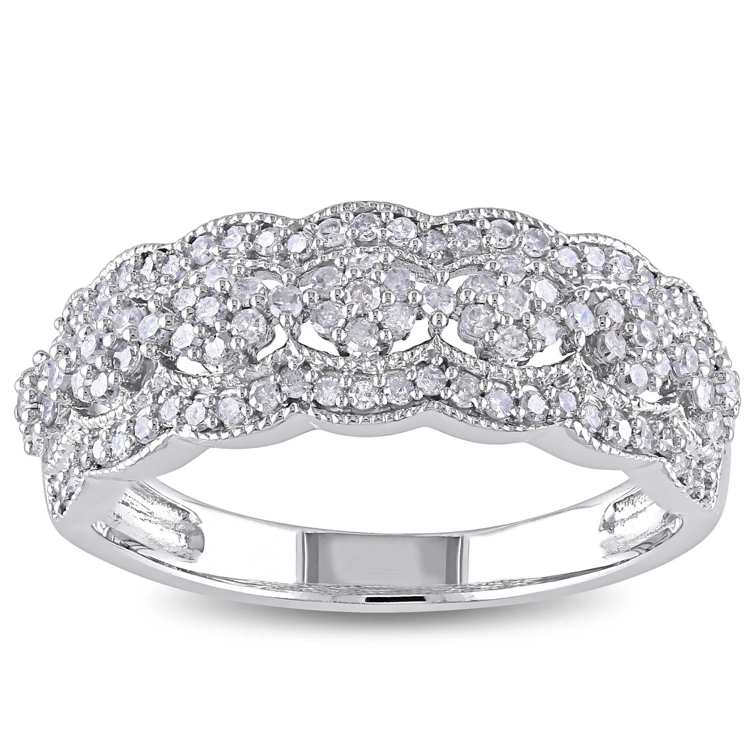 Miadora Signature 10k White Gold 1/2ct Tdw Diamond Vintage Floral Anniversary Band For Most Recently Released Diamond Multi Triangle Anniversary Rings In White Gold (View 10 of 25)