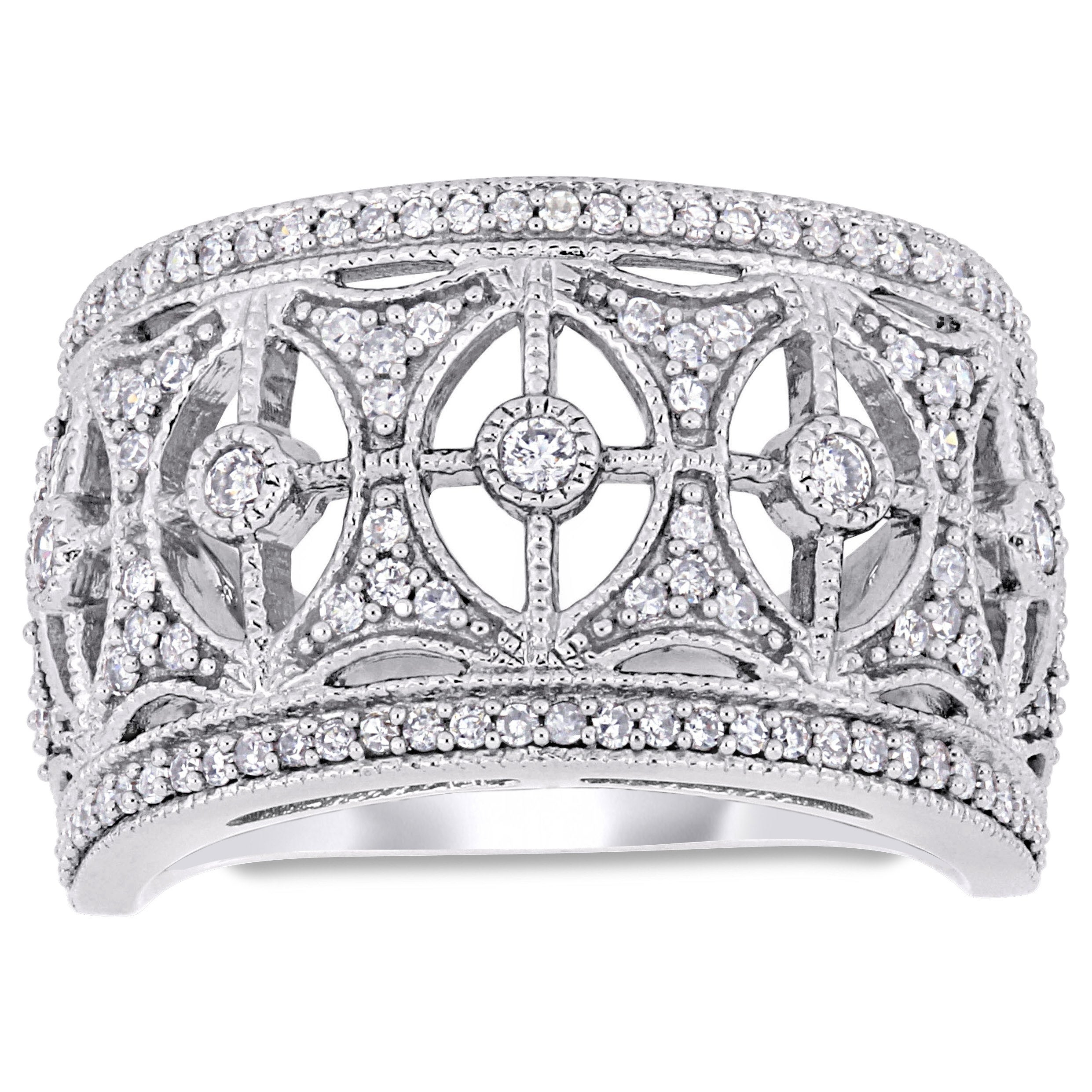Miadora Signature Collection 10K White Gold 1/2Ct Tdw Diamond Filigree  Anniversary Band Pertaining To 2019 Diamond Bubble Five Stone Anniversary Bands In White Gold (View 21 of 25)