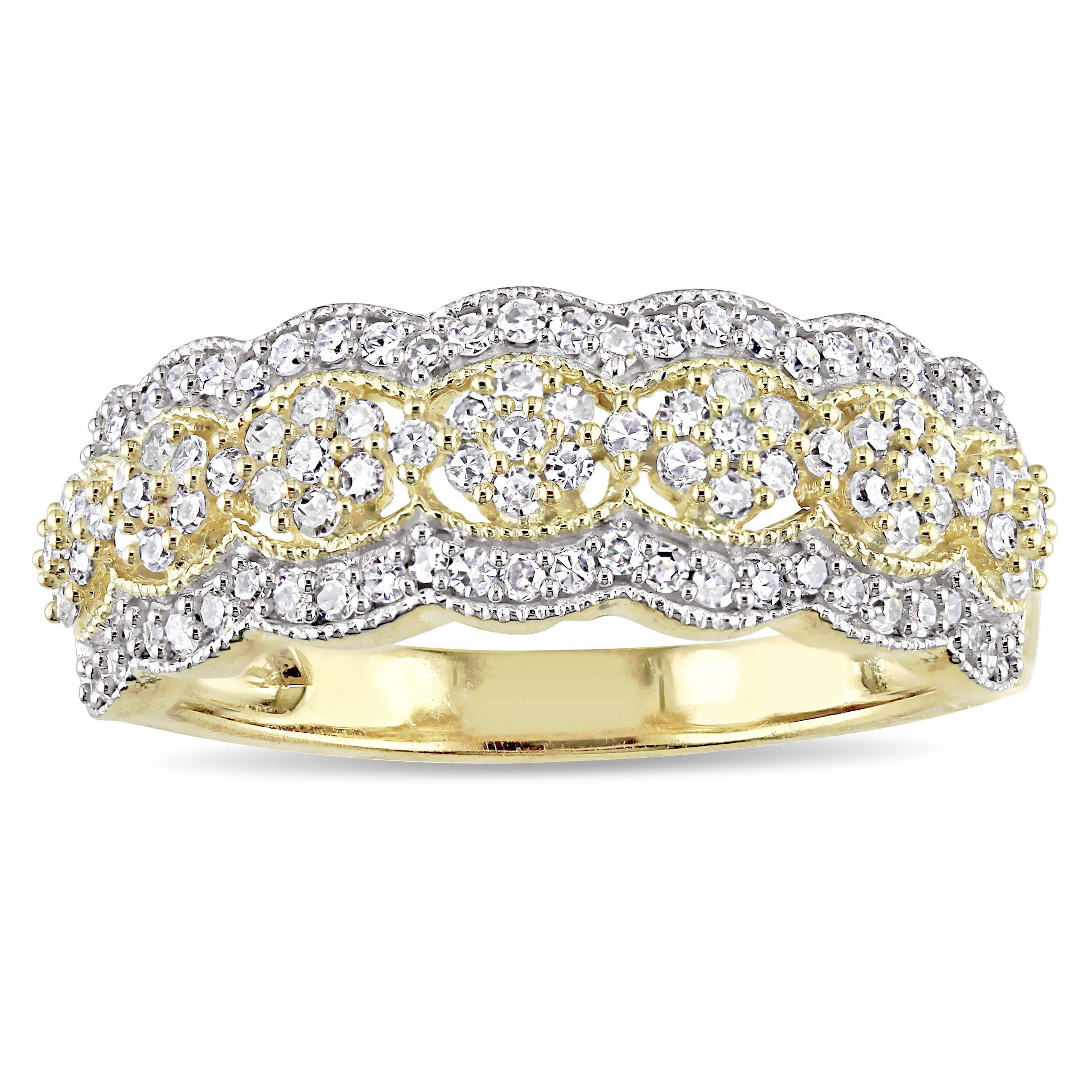 Miadora Signature Collection 10k Yellow Gold 1/2ct Tdw Diamond Milgrain Detail Anniversary Ring Intended For Most Up To Date Diamond Accent Milgrain Anniversary Bands In White Gold (View 13 of 25)