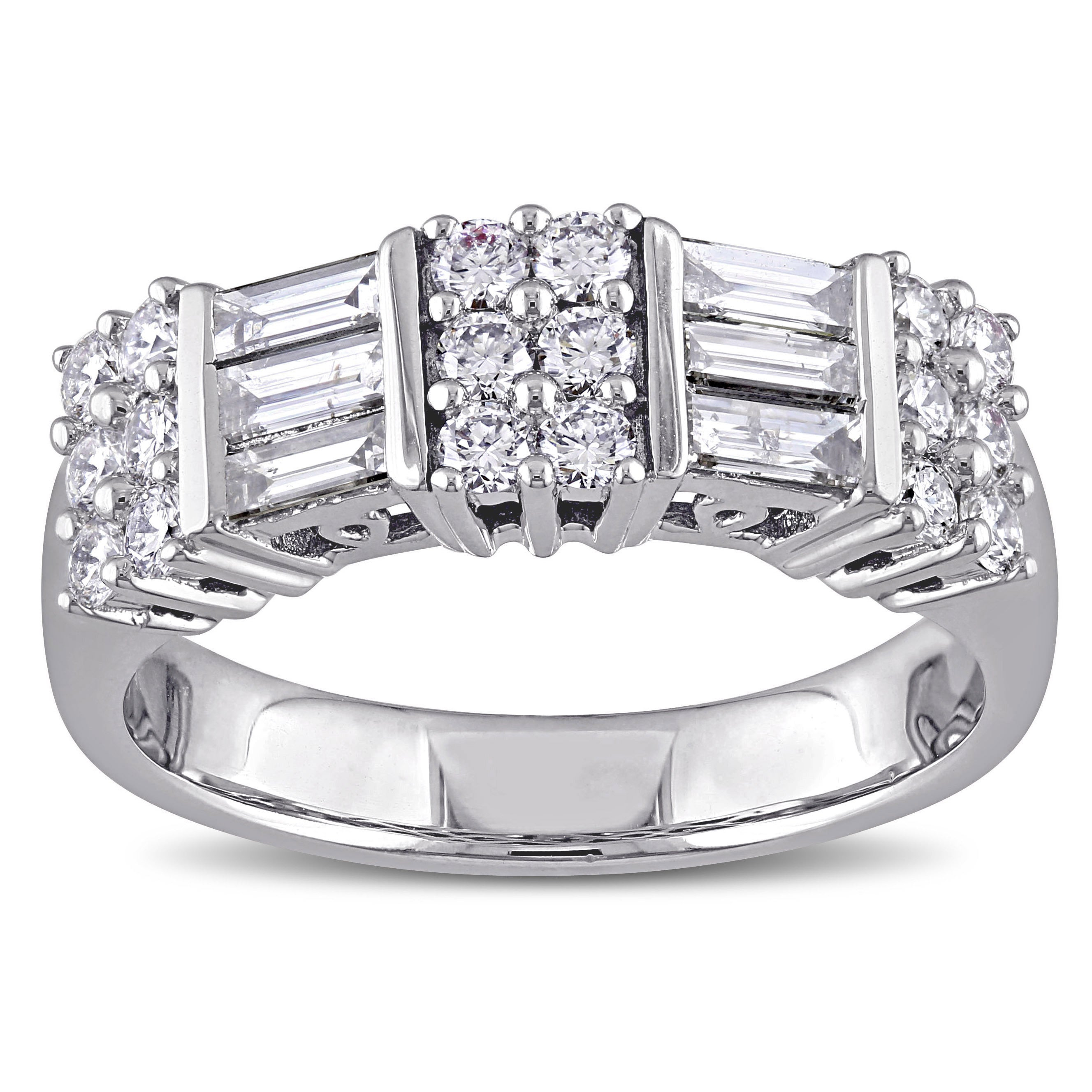Miadora Signature Collection 14K White Gold 1Ct Tdw Round And Parallel Baguette Cut Diamond Annivers Throughout 2020 Baguette And Round Diamond Alternating Multi Row Anniversary Bands In White Gold (Gallery 25 of 25)