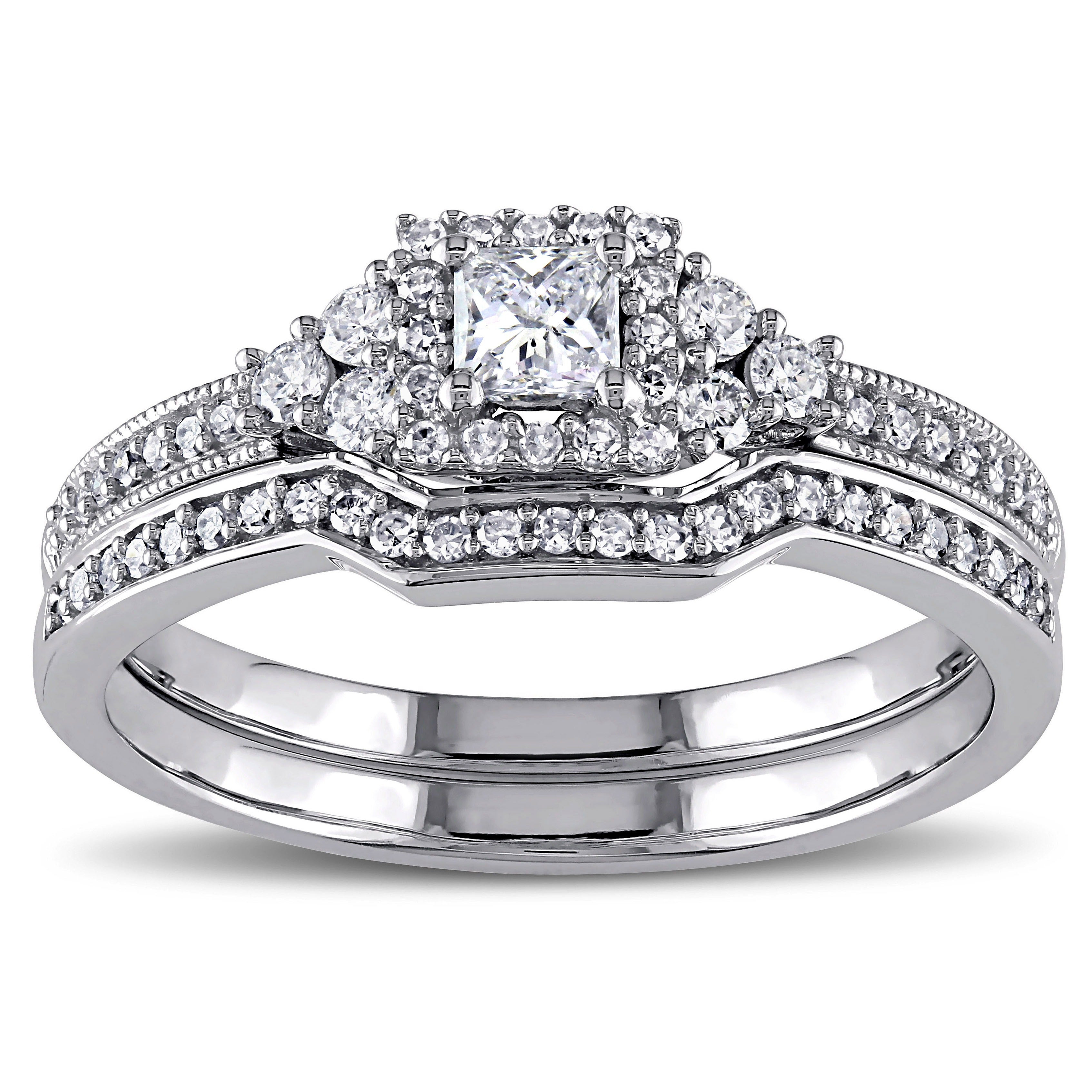 Miadora Signature Collection 14k White Gold 5/8ct Tdw Princess Cut Diamond Certified Bridal Ring Set Intended For Latest Certified Princess Cut Diamond Contour Anniversary Bands In White Gold (View 10 of 25)
