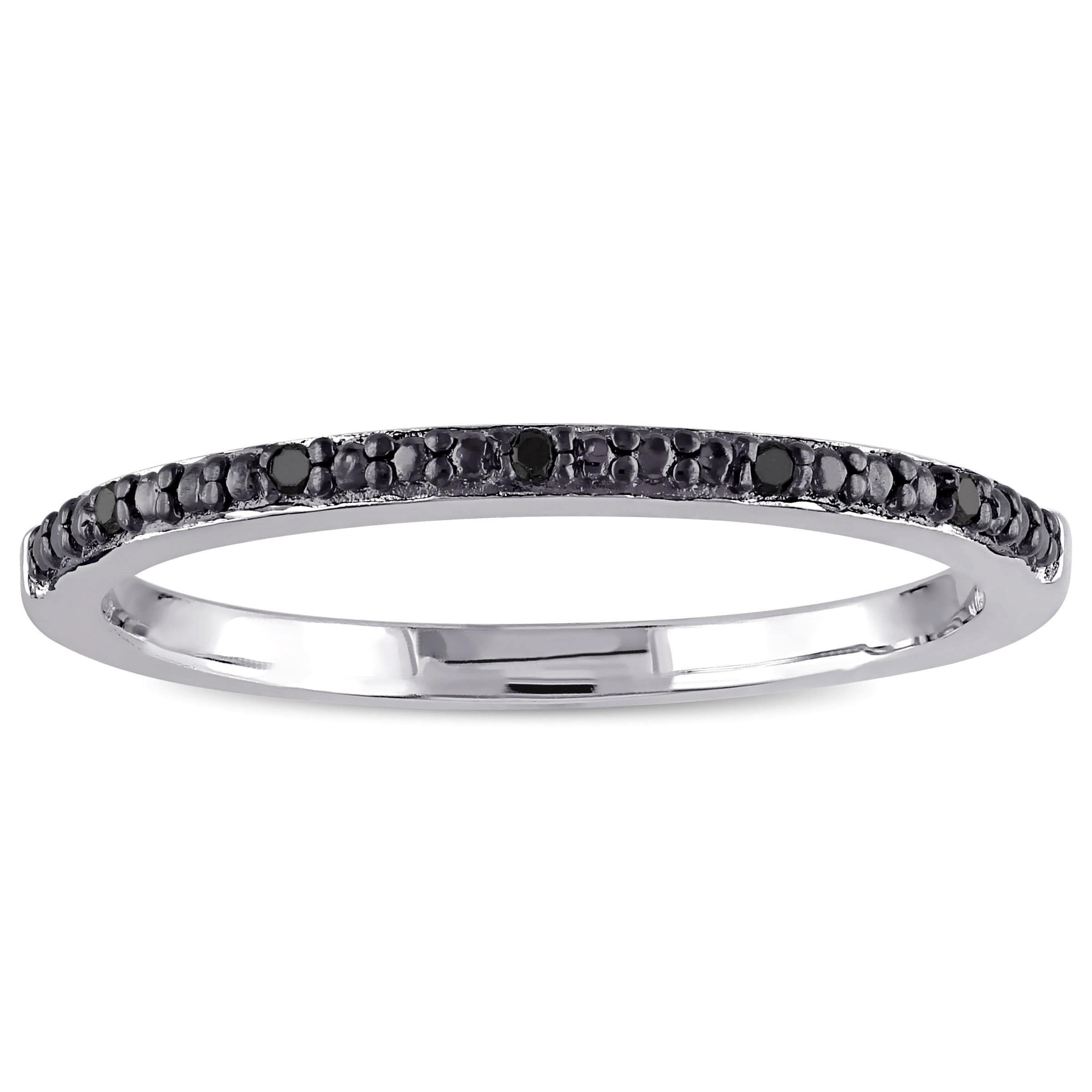 Miadora Sterling Silver Black Diamond Accent Wedding Band Intended For Most Popular Diamond Accent Anniversary Bands In Sterling Silver (View 11 of 25)