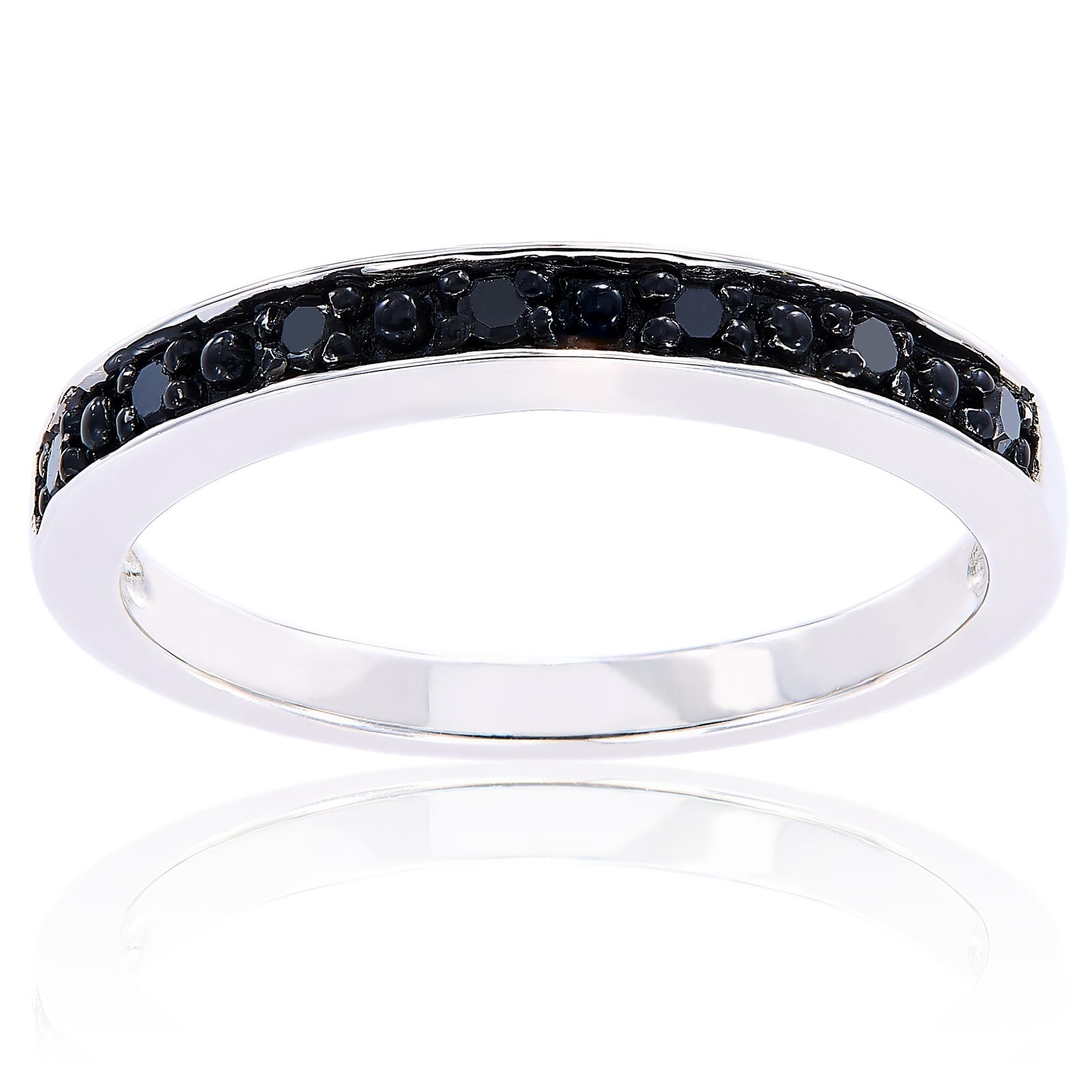 Miadora Sterling Silver Black Diamond Stackable Anniversary Wedding Band Ring With Regard To 2020 Enhanced Black And White Diamond Vintage Style Anniversary Bands In Sterling Silver (View 5 of 25)