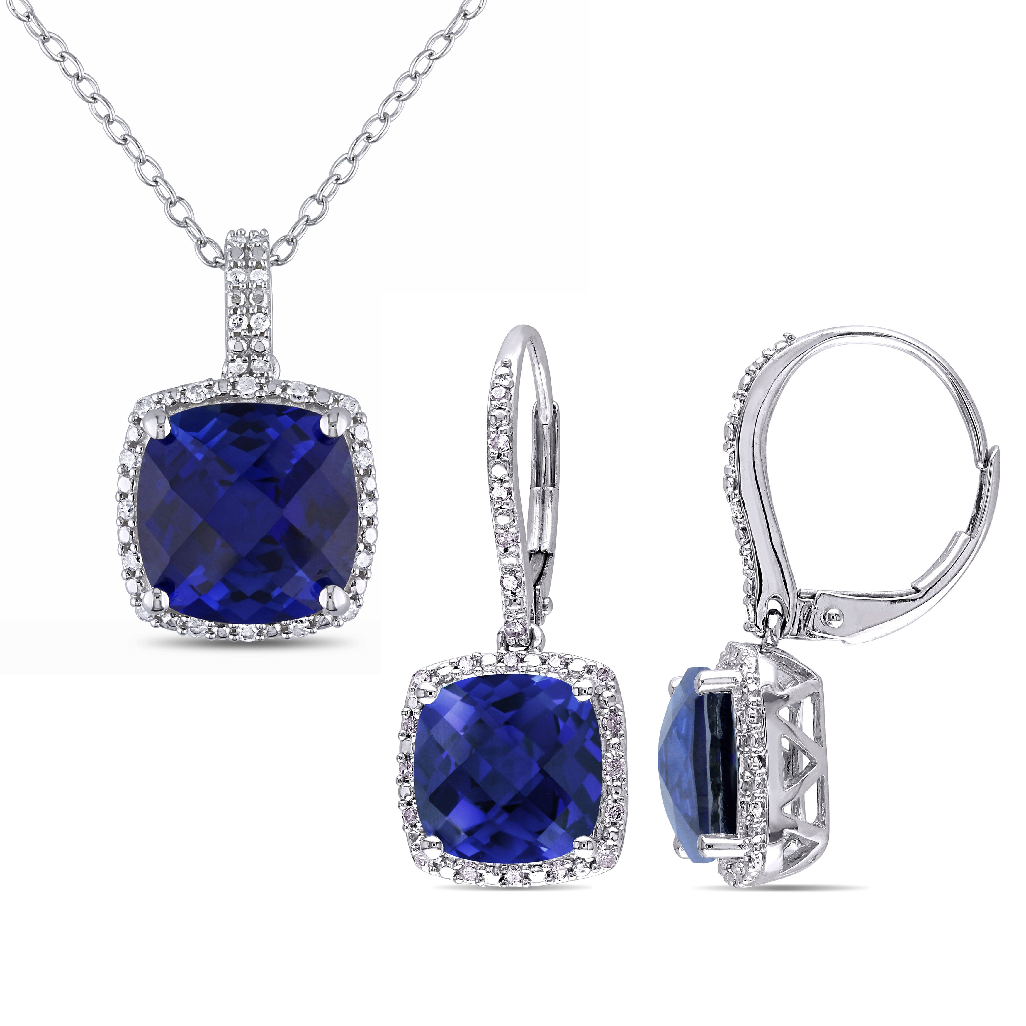 Miadora Sterling Silver Created Sapphire And 1/3Ct Tdw Diamond Square Halo  Necklace And Leverback Earrings Set – Blue For Current Square Sparkle Halo Necklaces (View 18 of 25)