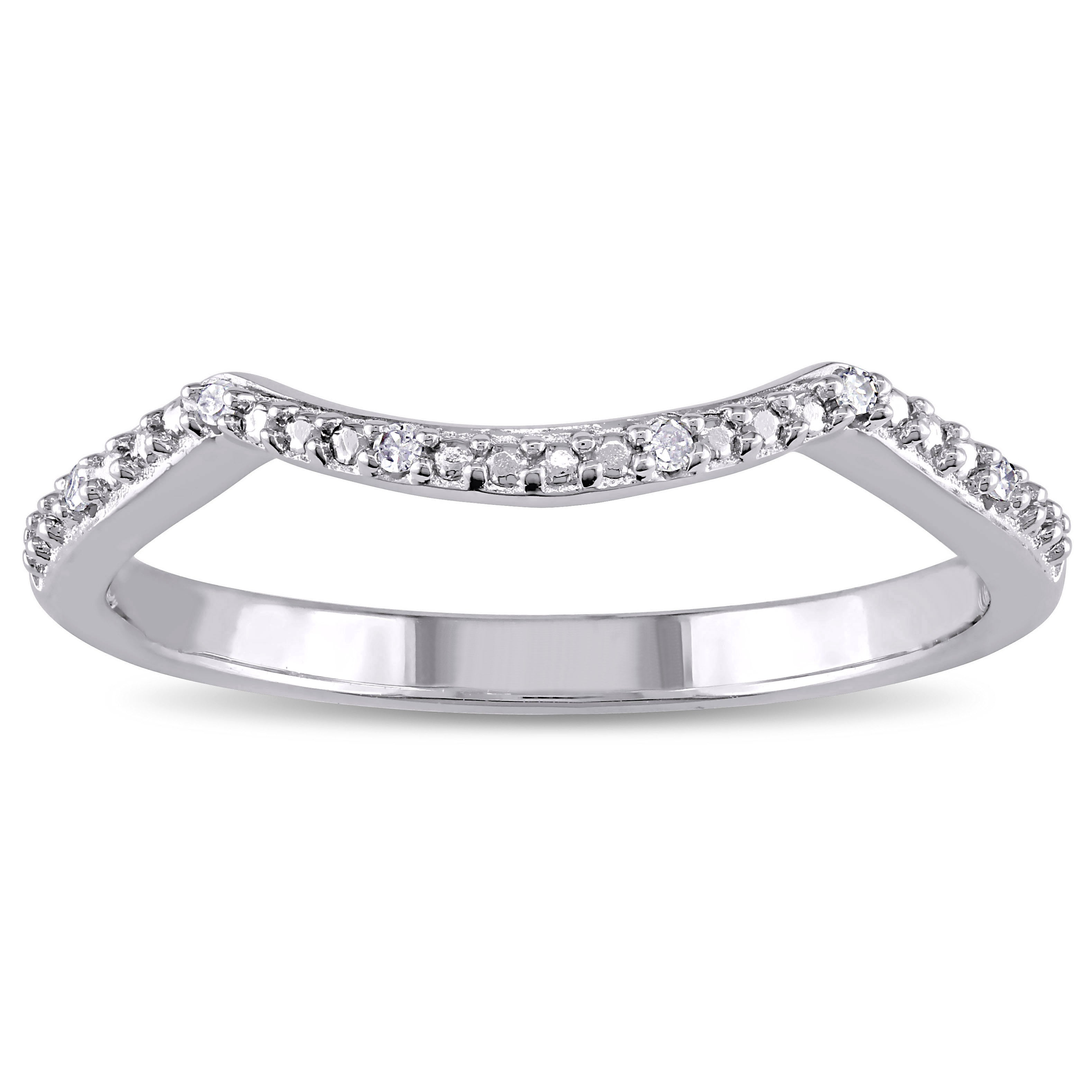Miadora Sterling Silver Diamond Accent Contour Wedding Band Within Latest Diamond Accent Anniversary Bands In Sterling Silver (Gallery 3 of 25)