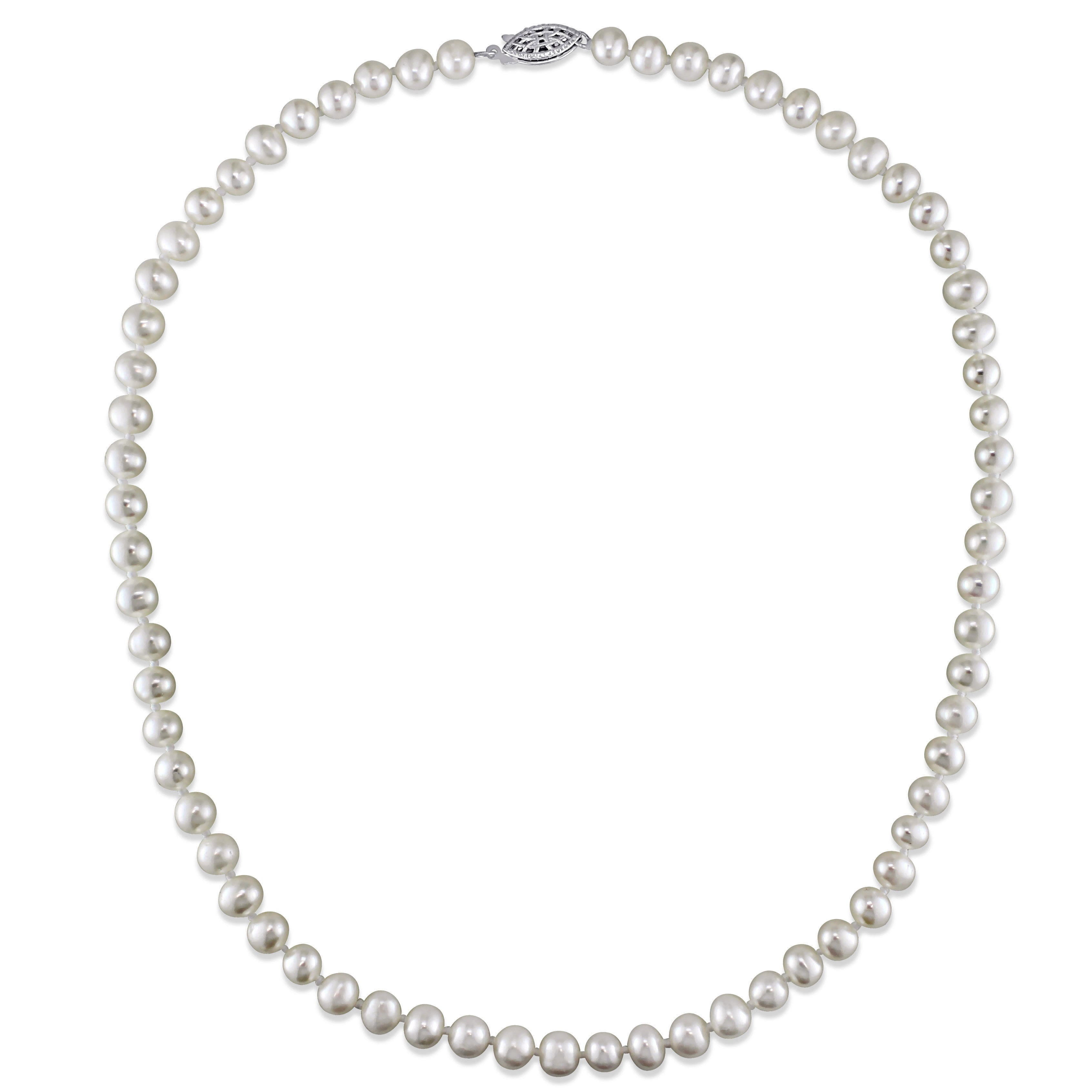 Miadora Sterling Silver Freshwater White Pearl Strand Necklace Throughout Current Offset Freshwater Cultured Pearl Circle Necklaces (Gallery 10 of 25)