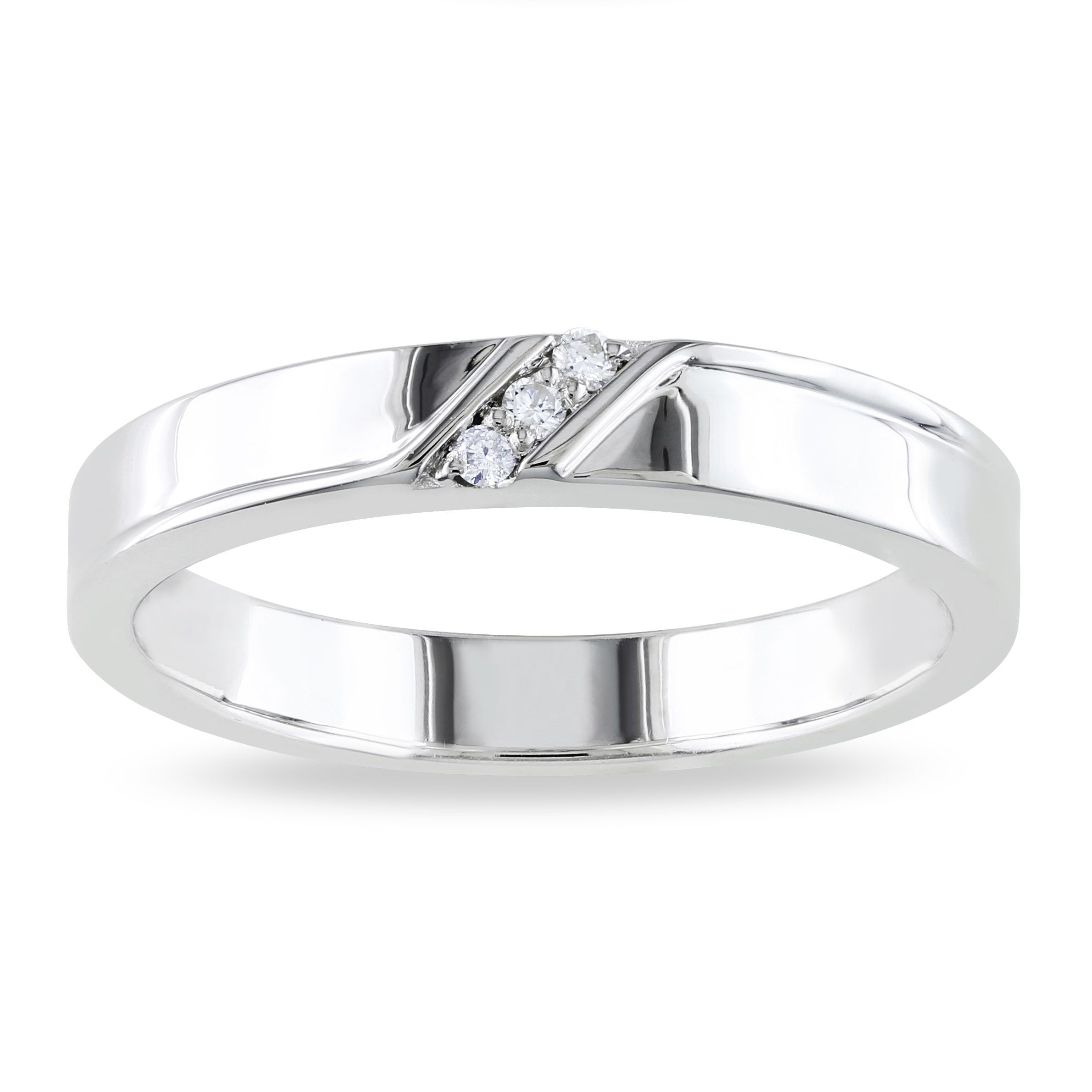 Miadora Sterling Silver Men's Diamond Accent 3 Stone Wedding Inside Most Current Diamond Accent Anniversary Bands In Sterling Silver (Gallery 5 of 25)