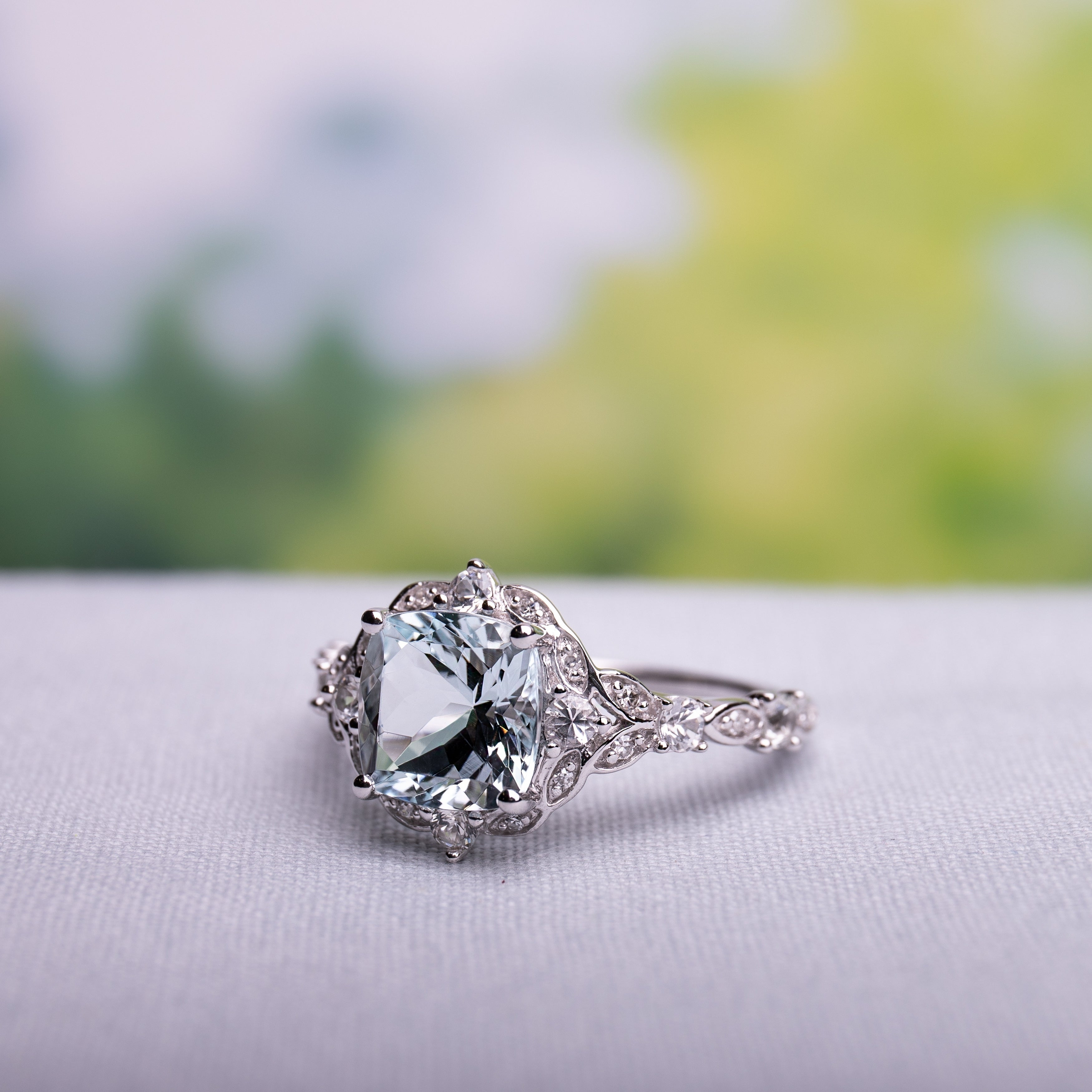Miadora Vintage 14k White Gold Aquamarine White Sapphire And Diamond Accent Engagement Ring Regarding Best And Newest Diamond Accent Vintage Style Anniversary Bands In White Gold (View 17 of 25)