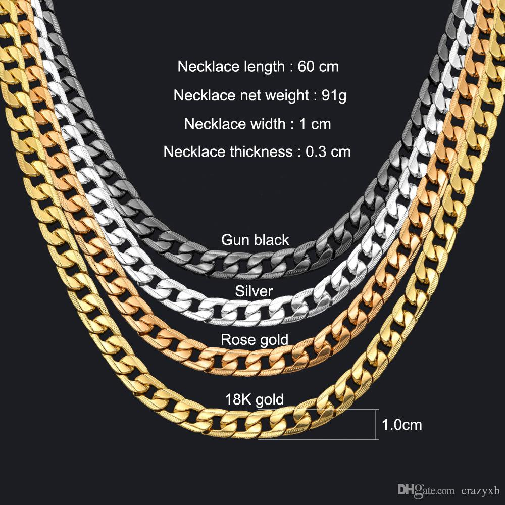 Miami Cuban Link Chain Necklace 1Cm Silver/gold Color Curb Chain For Men  Jewelry Corrente De Prata Masculina Wholesale Mens Necklace Throughout Newest Curb Chain Necklaces (Gallery 22 of 25)