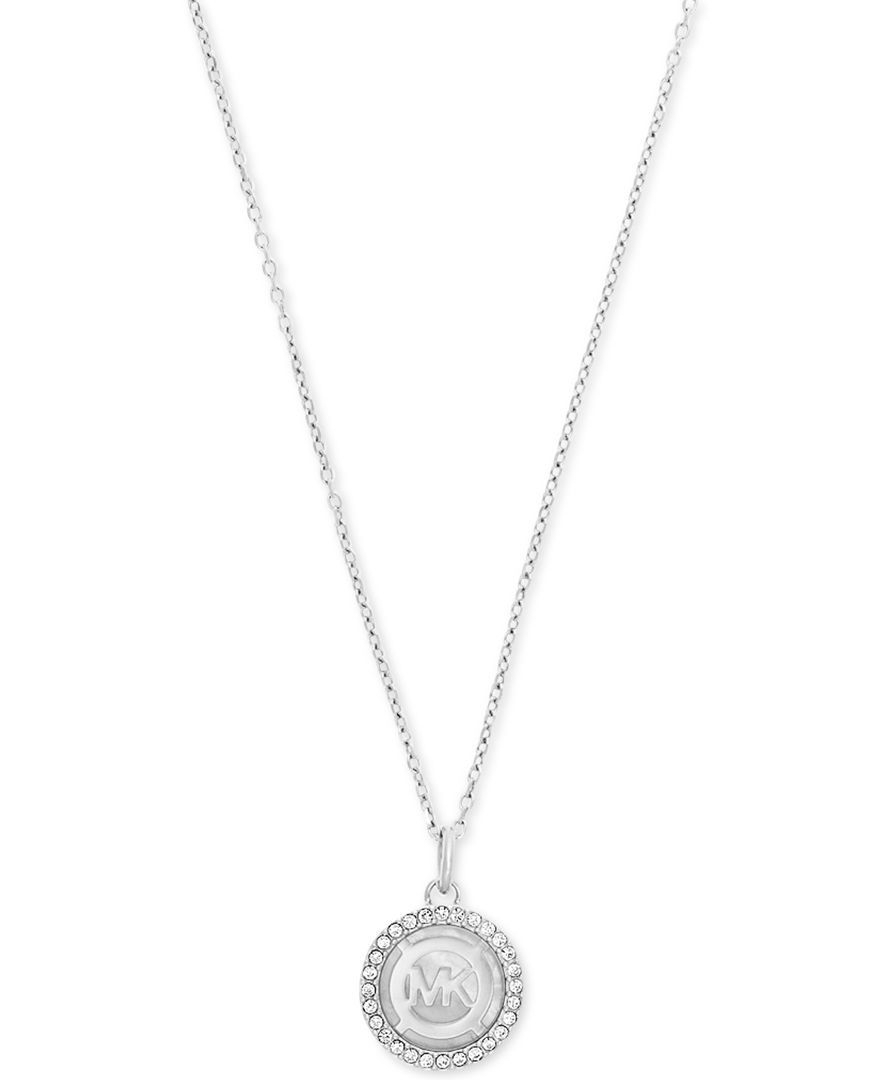 Michael Kors Logo Mother Of Pearl Pave Disc Pendant Necklace | Mk Within 2019 Pandora Logo Pavé Pendant Necklaces (Gallery 2 of 25)