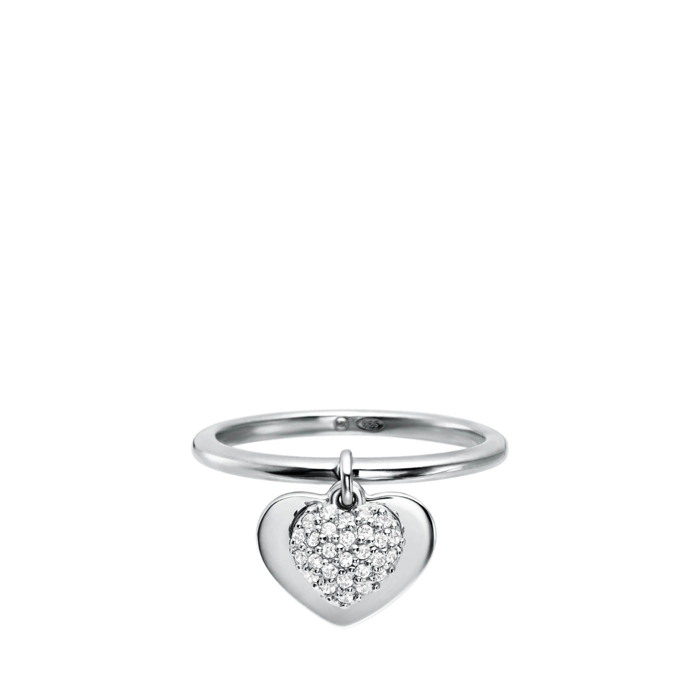Michael Kors Rhodium Plated Sterling Silver Pavé Heart Ring Regarding Most Popular Pavé Hearts Band Rings (View 16 of 25)