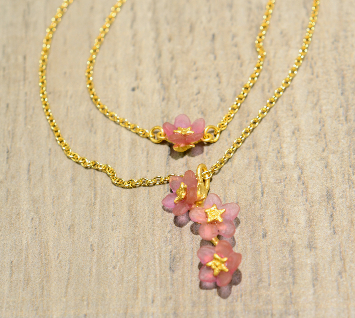 Michael Michaud Silver Seasons Pink Forget Me Not (Pinkie Winkie) Double  Necklace Pertaining To Newest Forget Me Not Necklaces (Gallery 24 of 25)