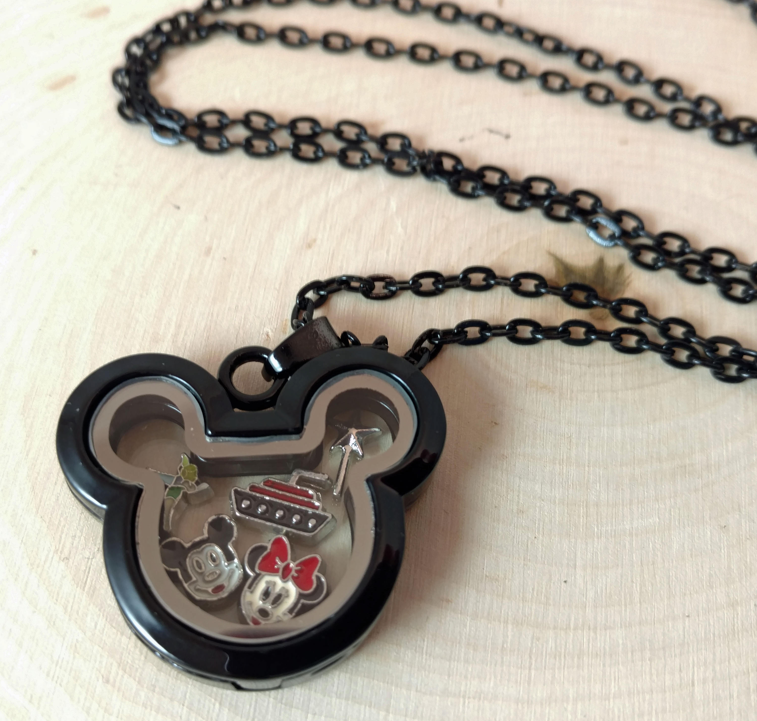 Mickey Head Shaped Locket, Floating Charms, Black Mickey Head, Fillable  Locket, Black Mickey Head Locket,disney Floating Locket, Disney Gift Regarding Latest Disney Mickey Floating Locket Necklaces (View 12 of 25)