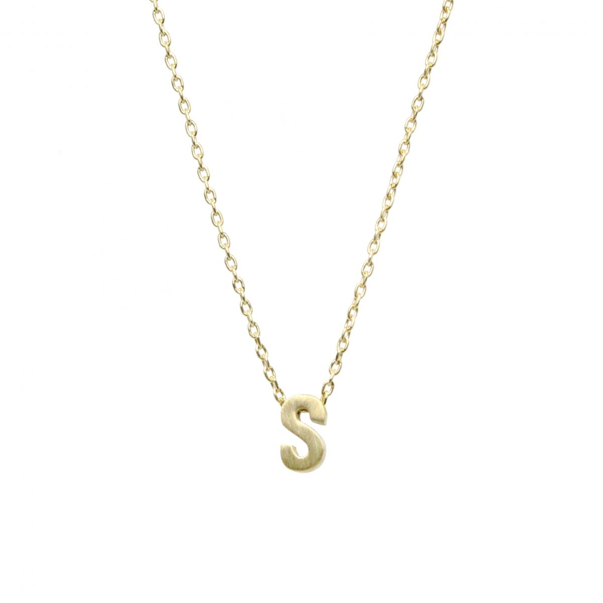 """Micro """"s"""" Initial Necklace Intended For Best And Newest Classic Cable Chain Necklaces (View 16 of 25)"""