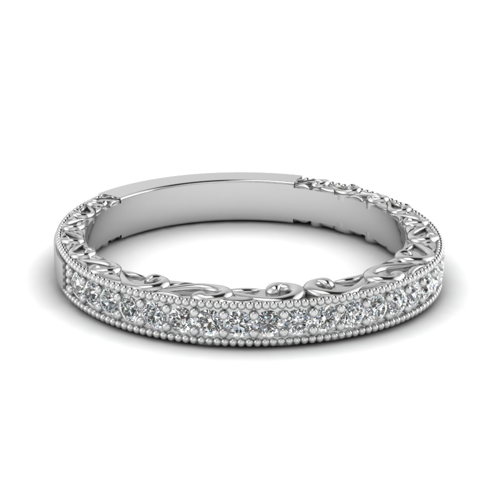 Milgrain Filigree Band Within Most Recently Released Enhanced Black And White Diamond Vintage Style Anniversary Bands In Sterling Silver (Gallery 16 of 25)