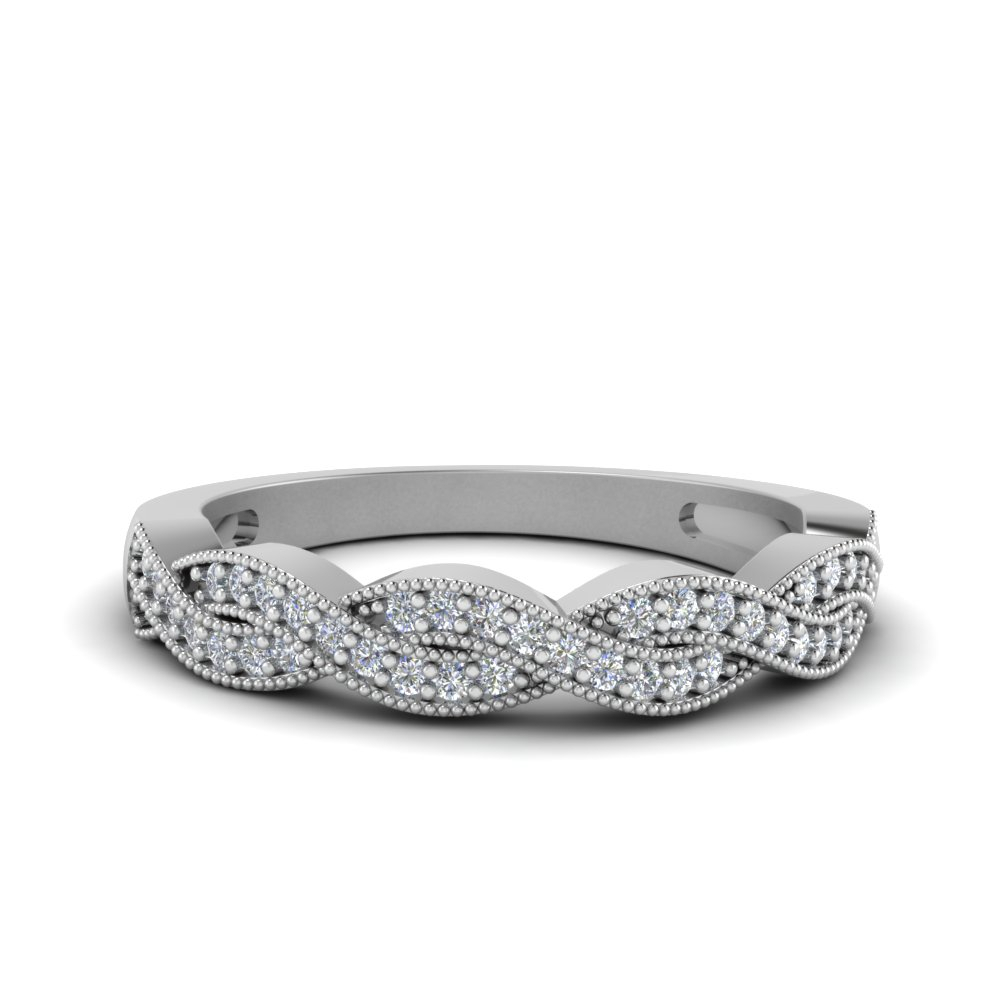 Featured Photo of Diamond Accent Milgrain Twist Anniversary Bands In White Gold