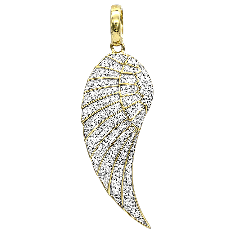Mini 10K Gold Diamond Angel Wing Necklace Pendant  (View 15 of 25)