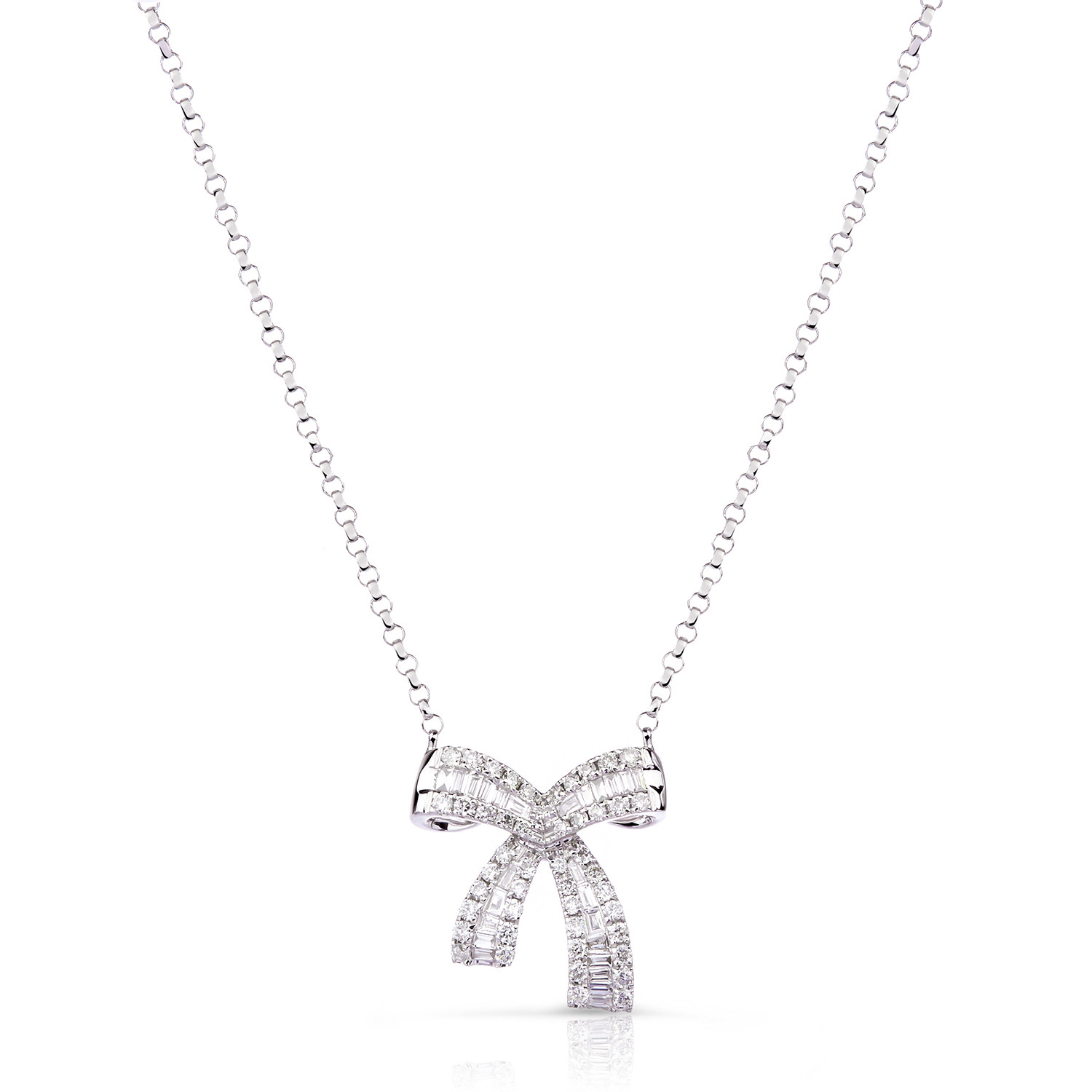Mini Baguette Diamond Bow Necklace In 18K White Gold ( (View 11 of 25)