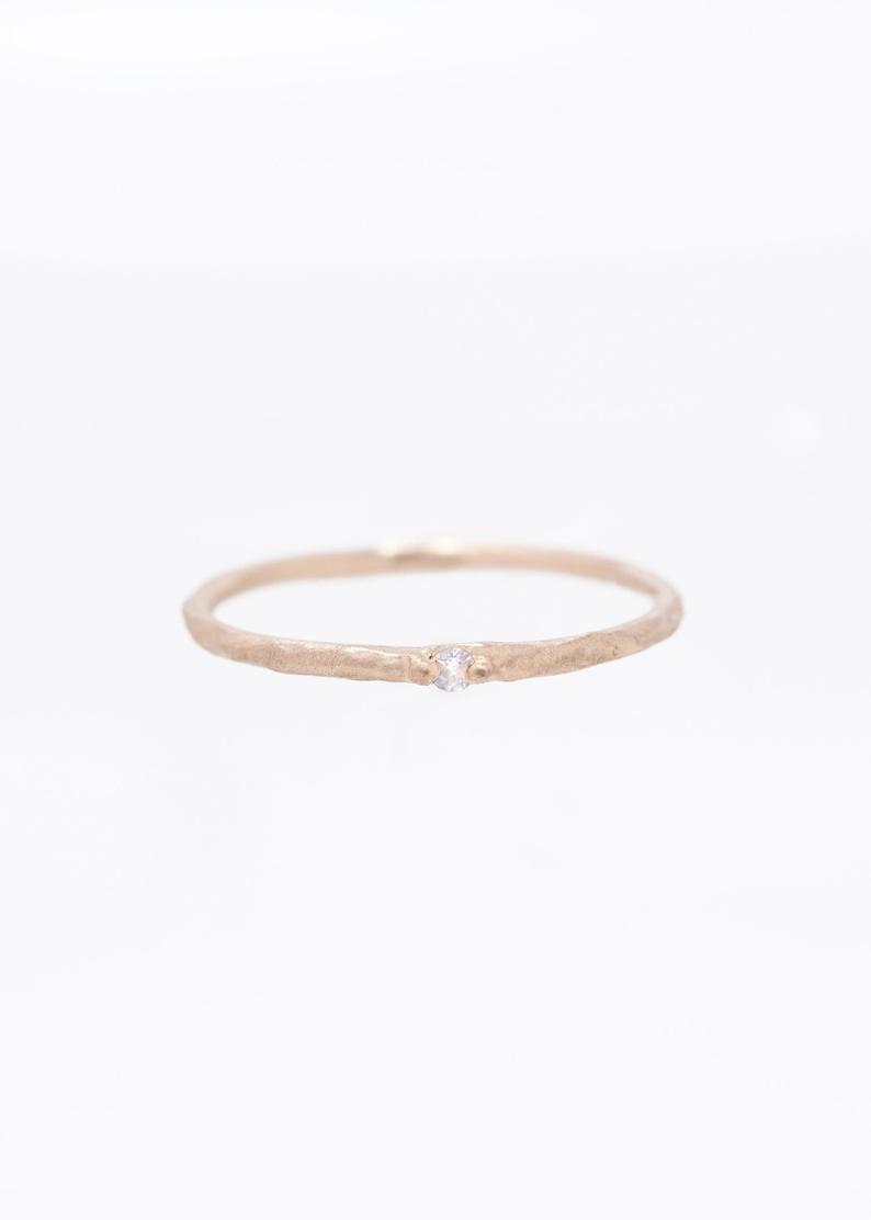 Minimalist Diamond Ring | Alternative Wedding Band | Alternative Engagement Ring | Thin Gold Ring | Tiny Diamond Ring Throughout Current Elegant Sparkle Rings (View 17 of 25)