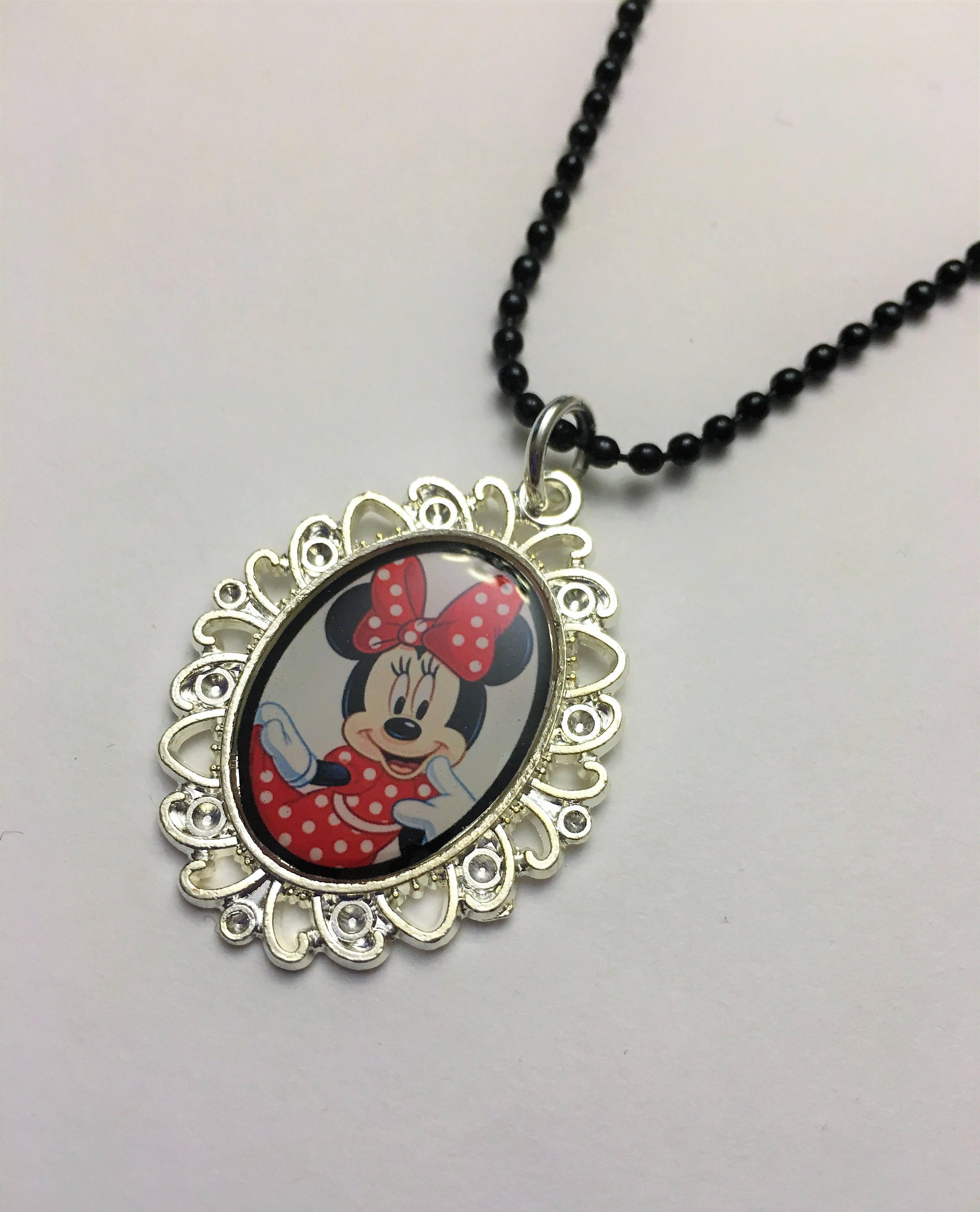 Minnie Mouse Pendant Necklace, Little Girl Necklace, Toddler, Child, Kids  Jewelry, Baby Girl,gift For Daughter, Niece, Granddaughter, Friend Inside Most Recent Disney Minnie'S Polka Dots Pendant Necklaces (Gallery 18 of 25)