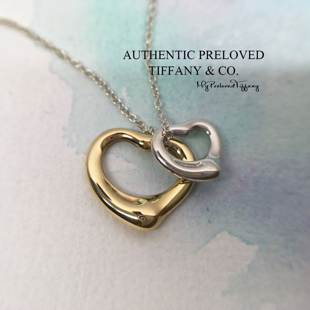 Mint Tiffany & Co Elsa Peretti Double Open Heart Silver X Yellow Gold  Necklace 65% Off Retail Regarding Most Recently Released Open Heart Necklaces (Gallery 21 of 25)