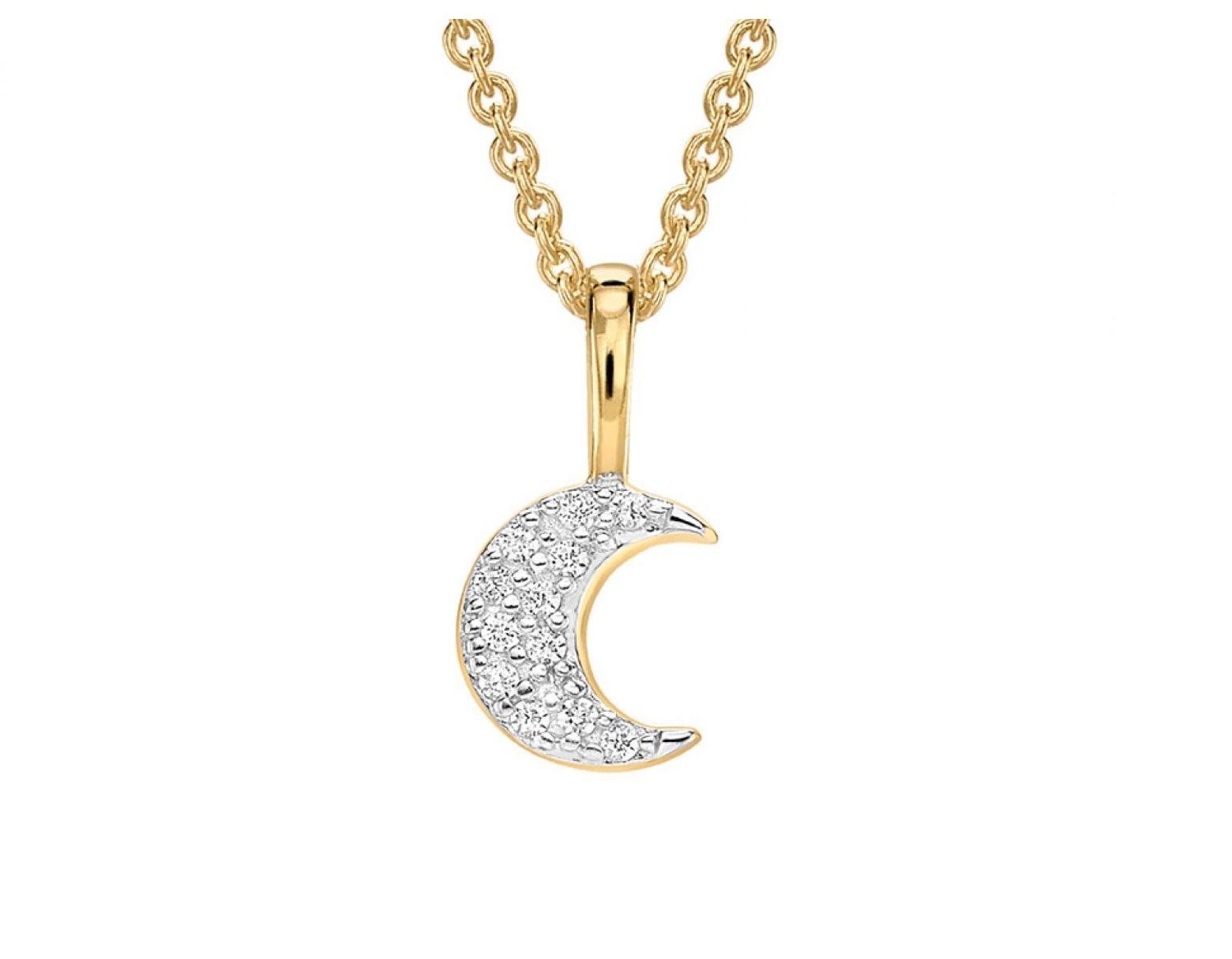 Missoma Gold Pave Moon Charm Necklace In Metallic – Save 6% – Lyst Pertaining To 2020 Pavé Angel Wing Locket Element Necklaces (Gallery 25 of 25)