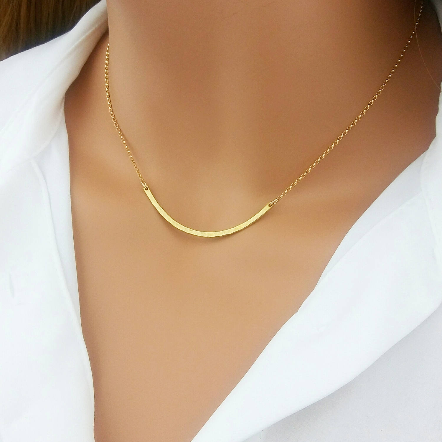 Modern Curved Bar Necklace, Minimalist Necklace, Skinny Bar Necklace, Minimalist Jewelry, Curve Bar, Bar Necklace, Layering Necklace With Regard To Most Current Sparkling Curved Bar Necklaces (View 16 of 25)