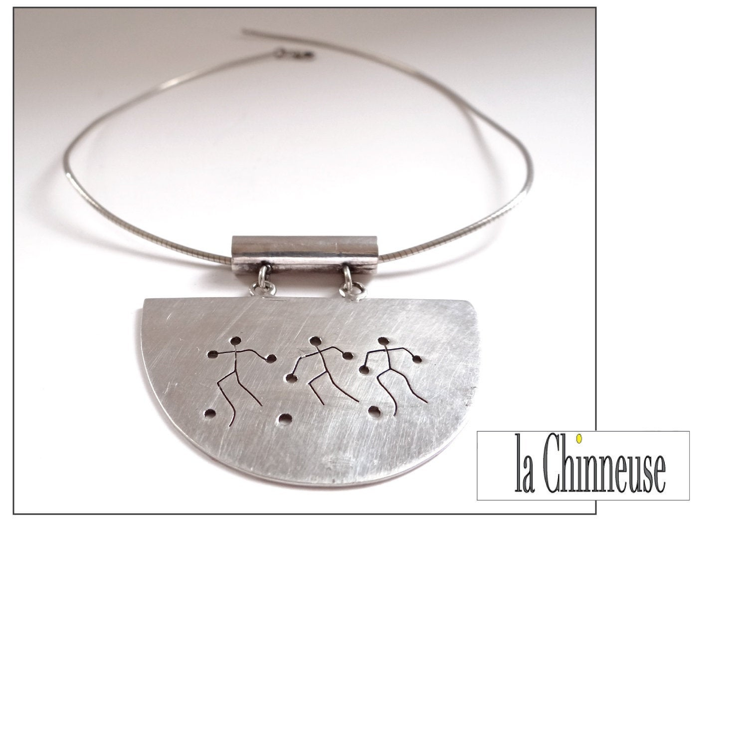 Modernist Ethnic Collier; Silver Neck Ras Necklace; Collectible; Gift For Her; Vintage Silver Jewelry. Within 2020 Vintage Circle Collier Necklaces (Gallery 14 of 25)