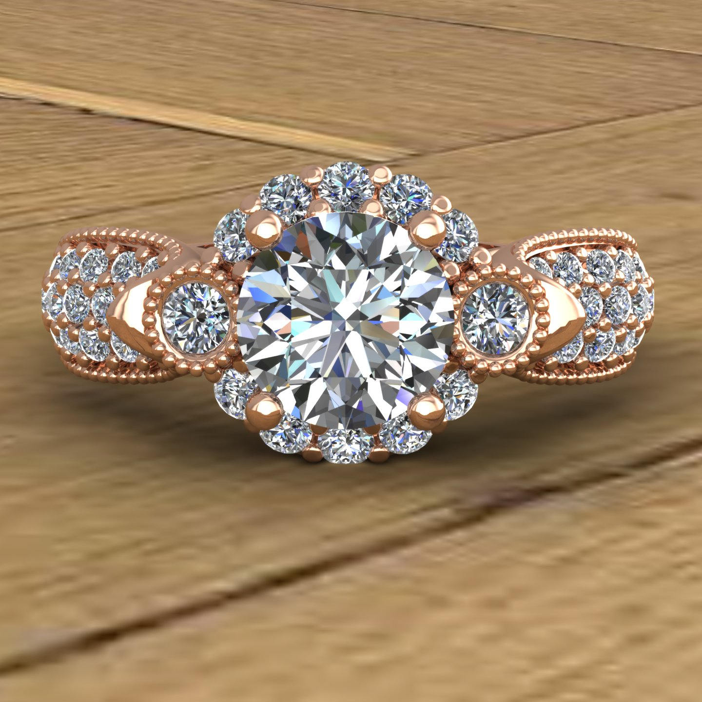 Moissanite Engagement Ring – Pavé Diamond Sides – Flower Halo – 14K Rose Gold – An Original Designcharles Babb Within Most Current Pavé Flower Rings (Gallery 19 of 25)