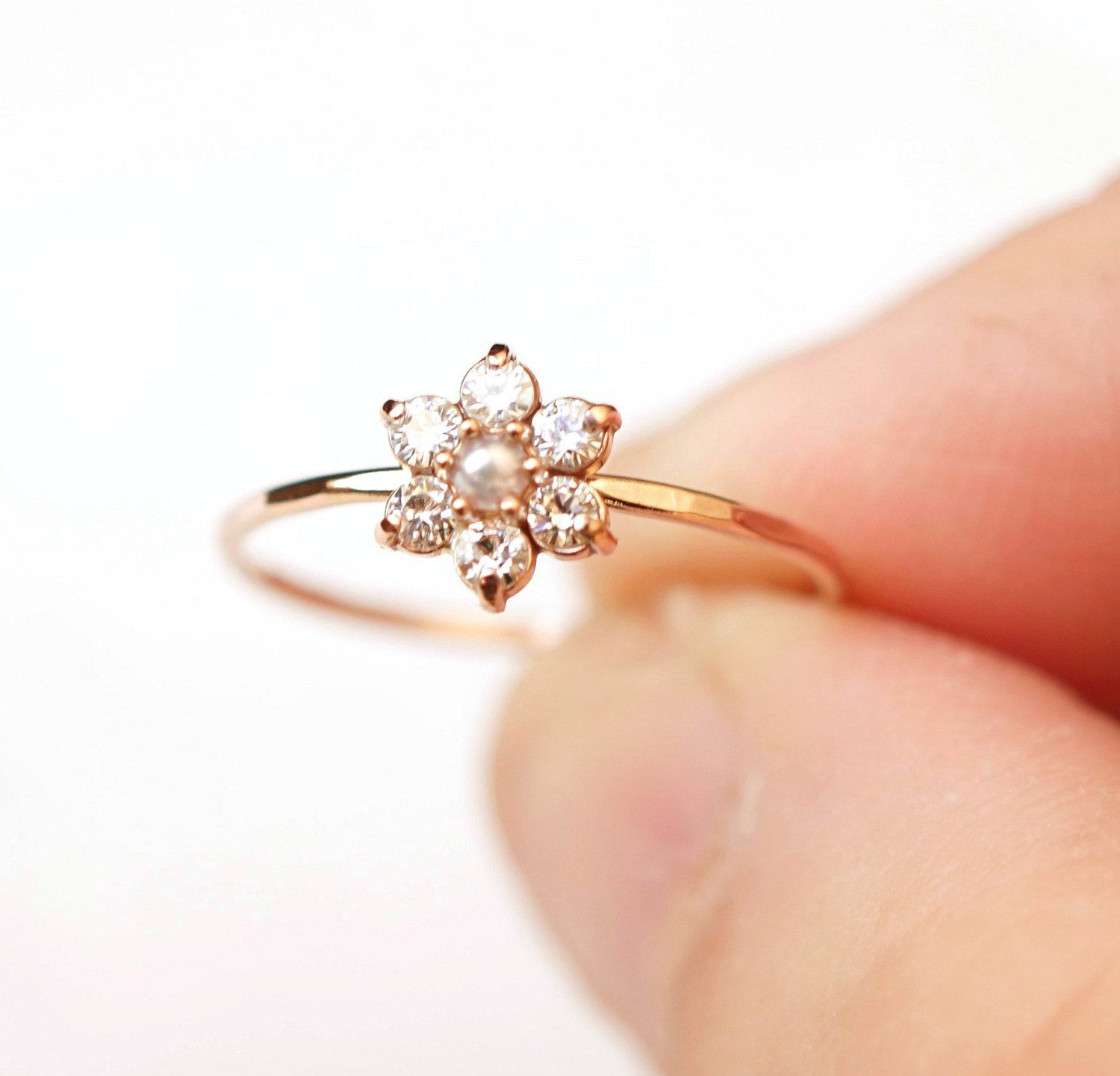 Moissanite Ring, Daisy Ring, Flower Ring, Cluster Ring, 14K Gold Within Most Recent Sparkling Daisy Flower Rings (Gallery 8 of 25)