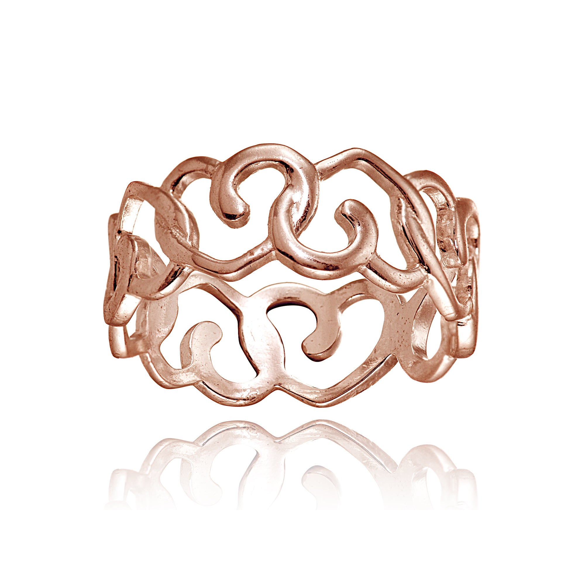 Mondevio 18k Rose Gold Over Sterling Silver High Polished Open Heart Eternity Band Ring Intended For 2017 Polished Heart Open Rings (View 10 of 25)