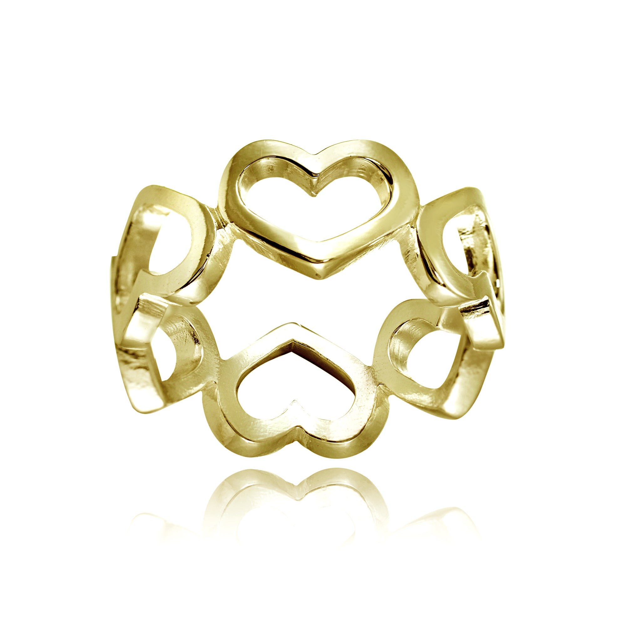 Mondevio Sterling Silver High Polished Open Heart Band Ring For Most Popular Polished Heart Open Rings (View 8 of 25)