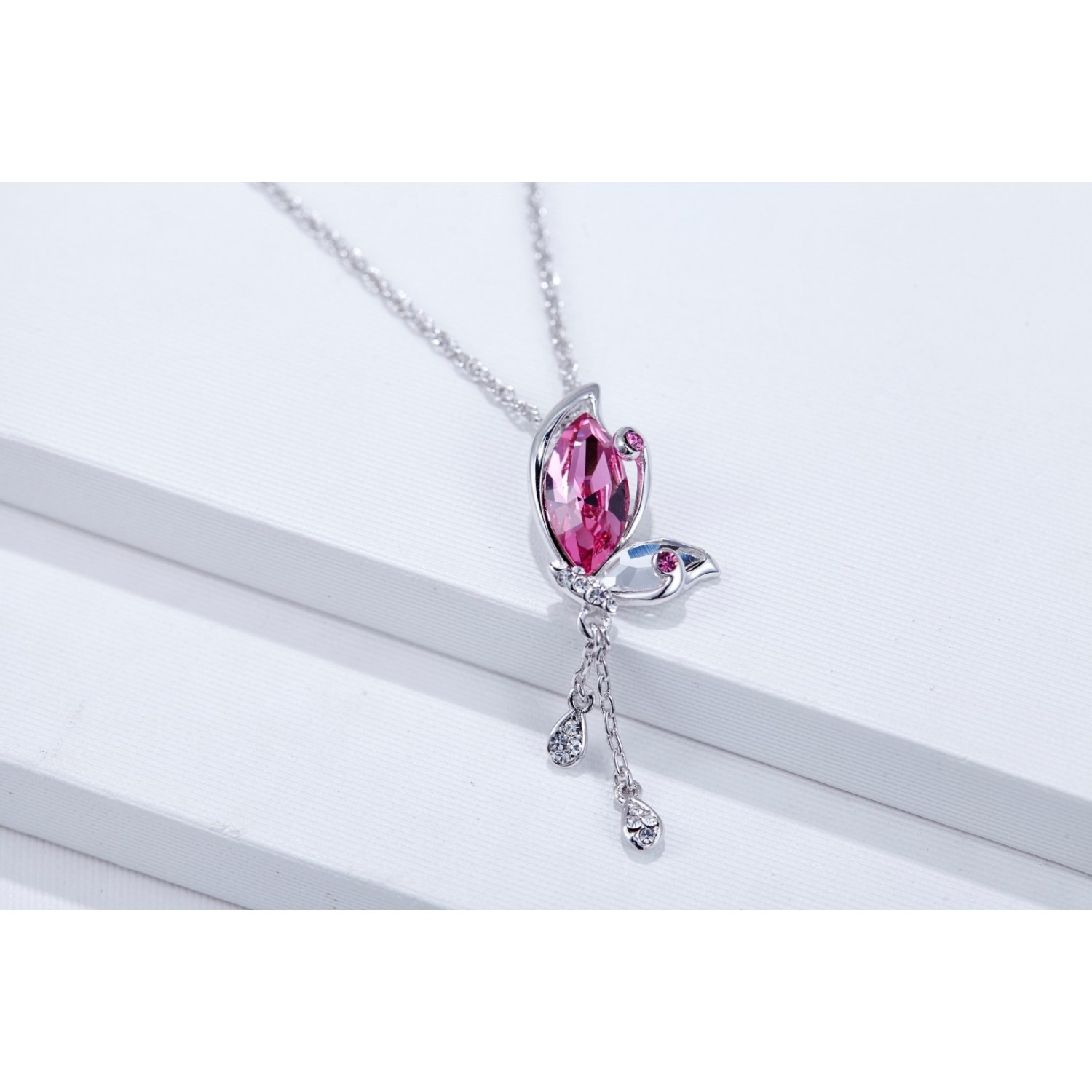 Monemel Swarovski Elements Pink Butterfly Necklace – Fiyatı – 350,00Tl In Most Recent Pink Butterfly Locket Element Necklaces (View 15 of 25)