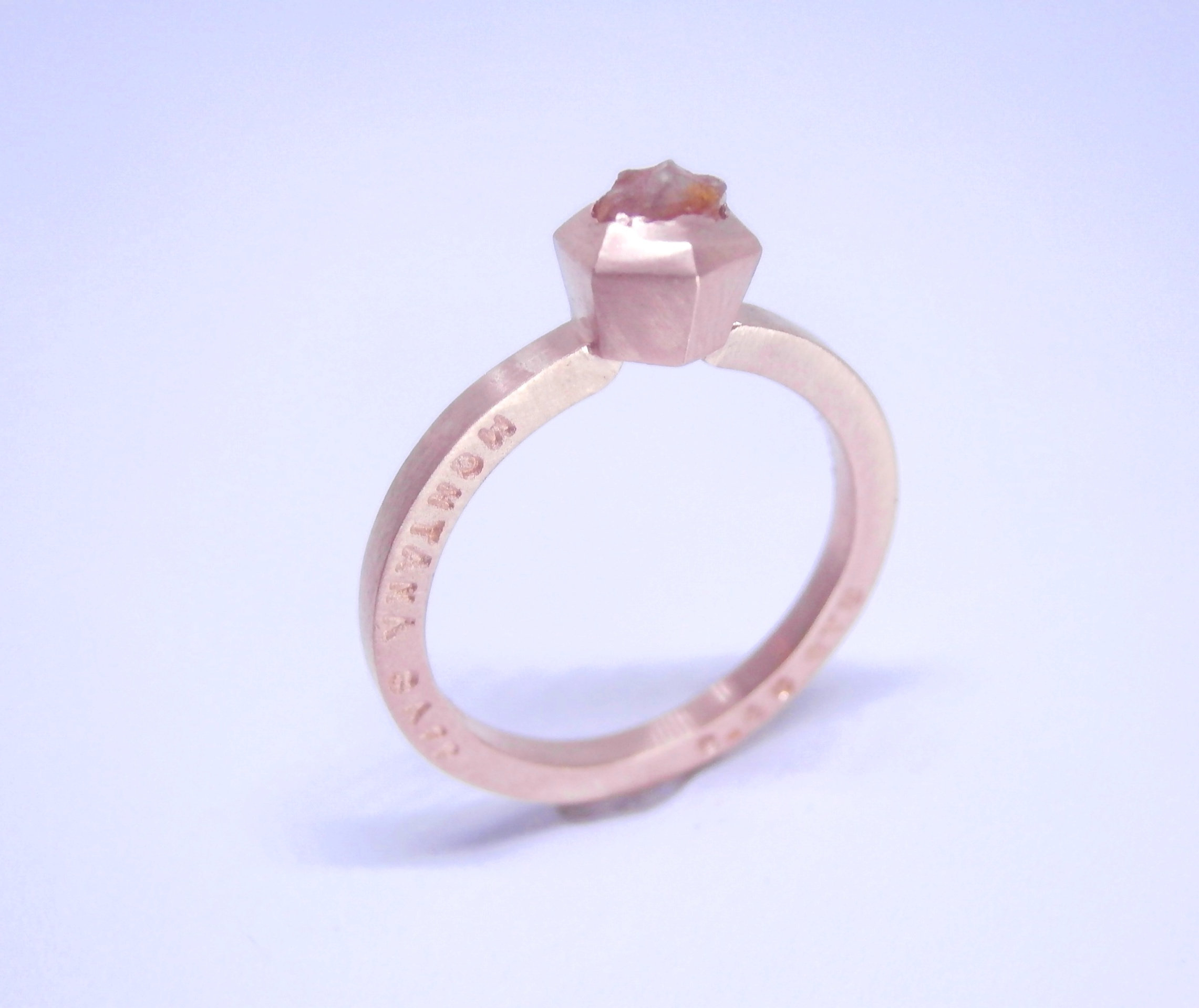 Montana Cognac Sapphire W Vintage Diamond 14K Rose Gold Ring (Introductory  Price) Pertaining To Newest Enhanced Cognac Diamond Vintage Style Anniversary Bands In Rose Gold (Gallery 18 of 25)