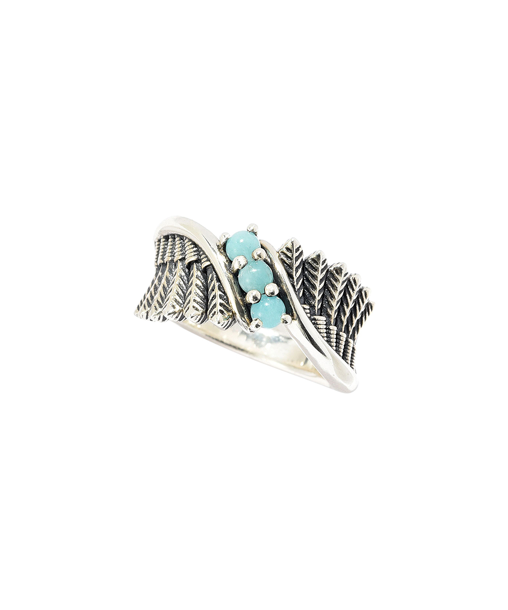 Montana Silversmiths Amazonite & Sterling Silver Feather Band Ring For Most Popular Shimmering Feather Rings (Gallery 22 of 25)