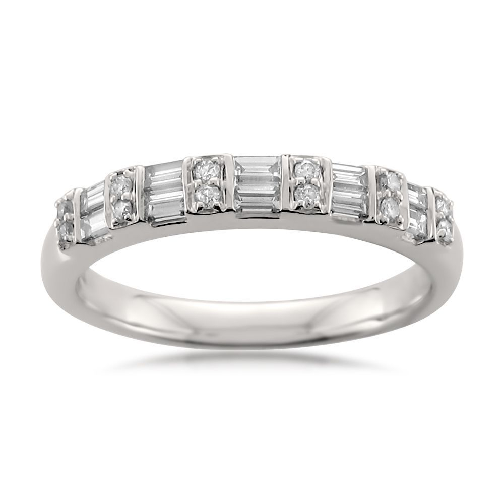 Montebello 14K White Gold 1/2Ct Tdw Round And Baguette Cut Regarding Most Recent Baguette And Round Diamond Alternating Multi Row Anniversary Bands In White Gold (Gallery 18 of 25)