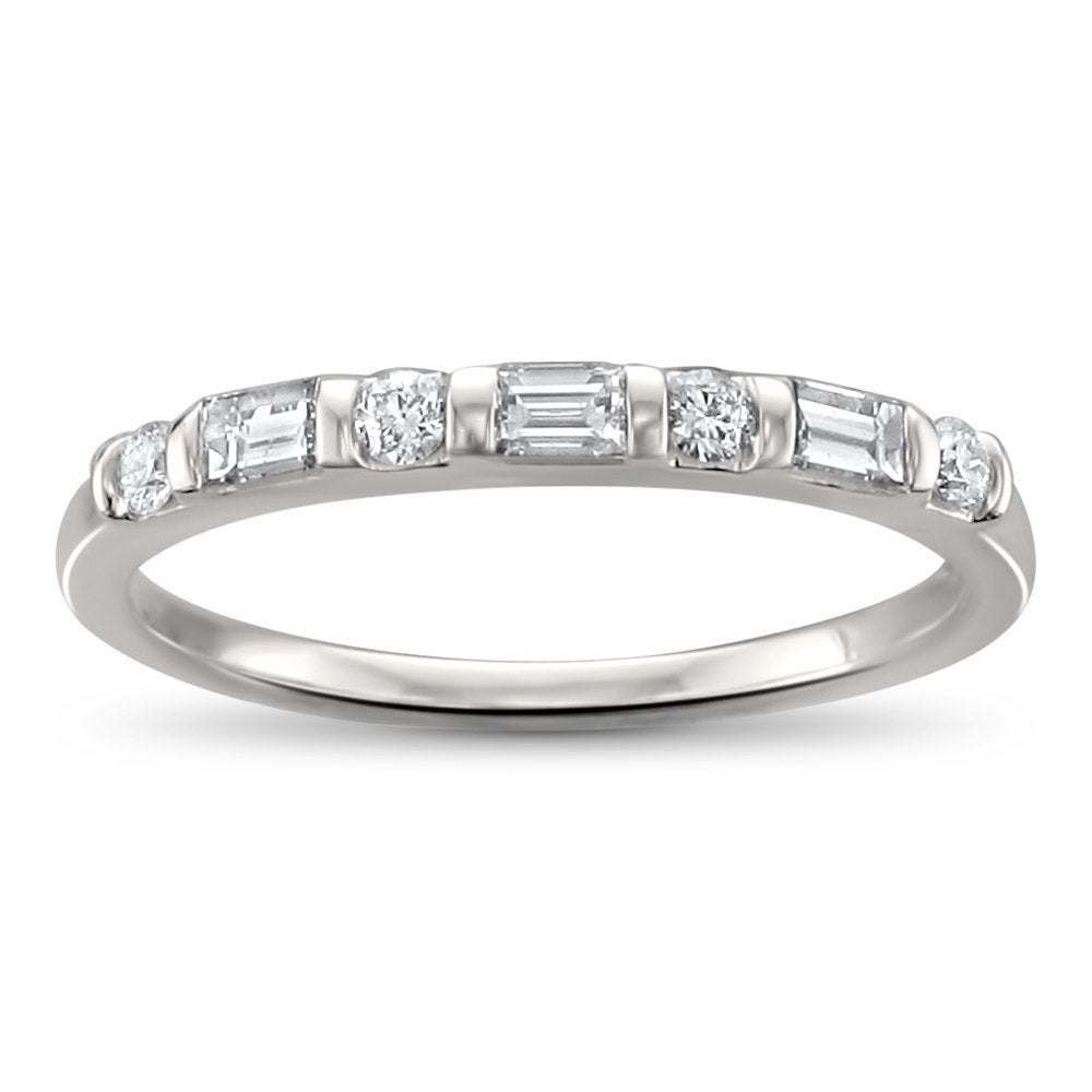 Montebello Jewelry 14K White Gold 1/3T Tdw Baguette Cut Diamond Wedding  Band (H I, Si1 Si2) Throughout Recent Baguette And Round Diamond Alternating Bar Anniversary Bands In White Gold (View 18 of 25)