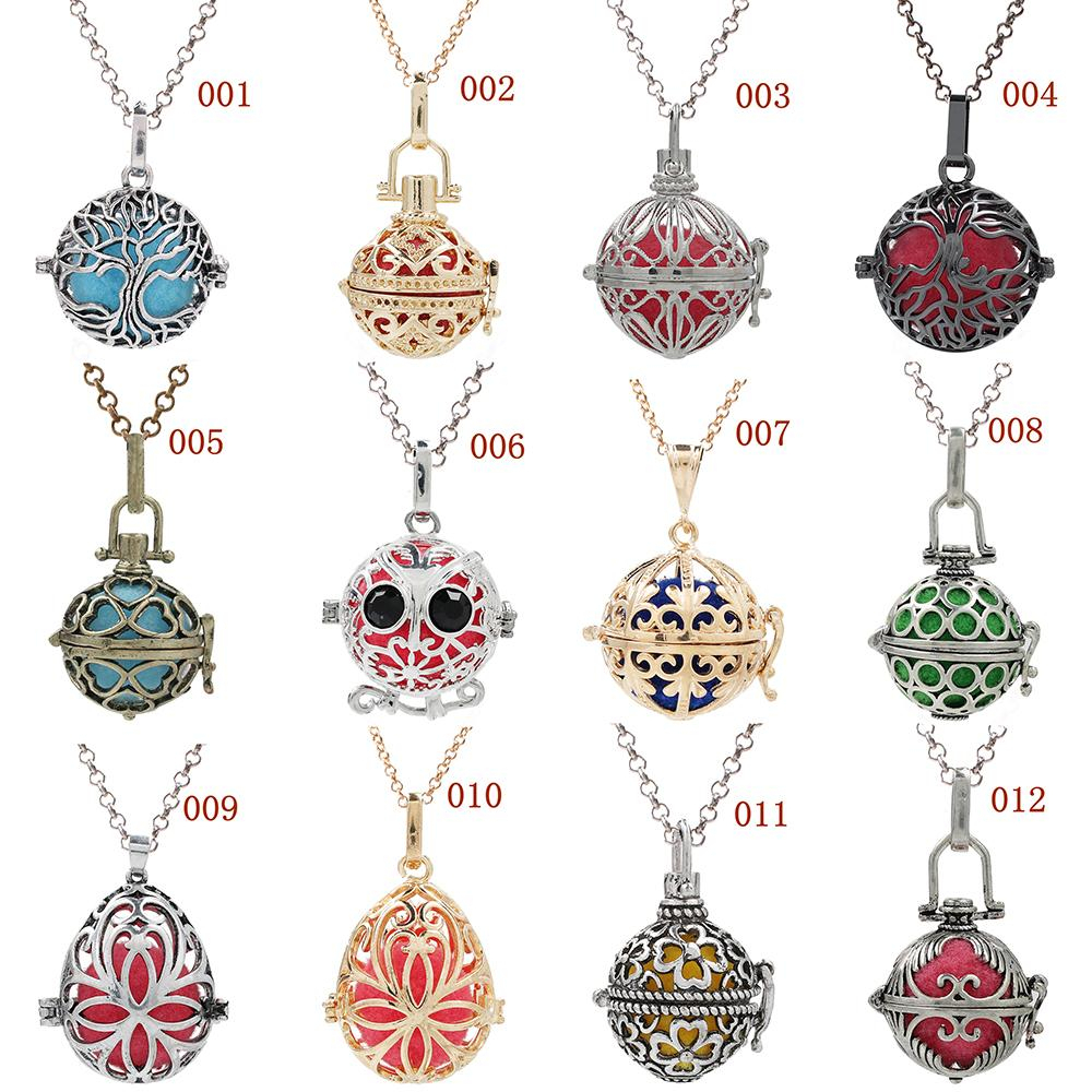 More Style Random Tree Of Life Flower Butterfly Birdcage Essential Oil Locket Lava Bead Diffuser Ball Pendant Angel Caller Chime Ball Charms Within Best And Newest Chiming Filigree Hearts Pendant Necklaces (View 23 of 25)