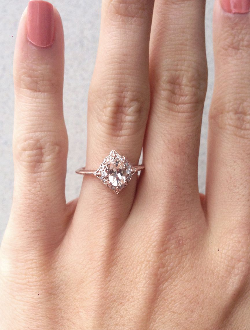 Morganite Engagement Ring, Oval Morganite Diamond Ring Inside Most Recently Released Champagne And White Diamond Edge Anniversary Bands In Rose Gold (View 9 of 25)