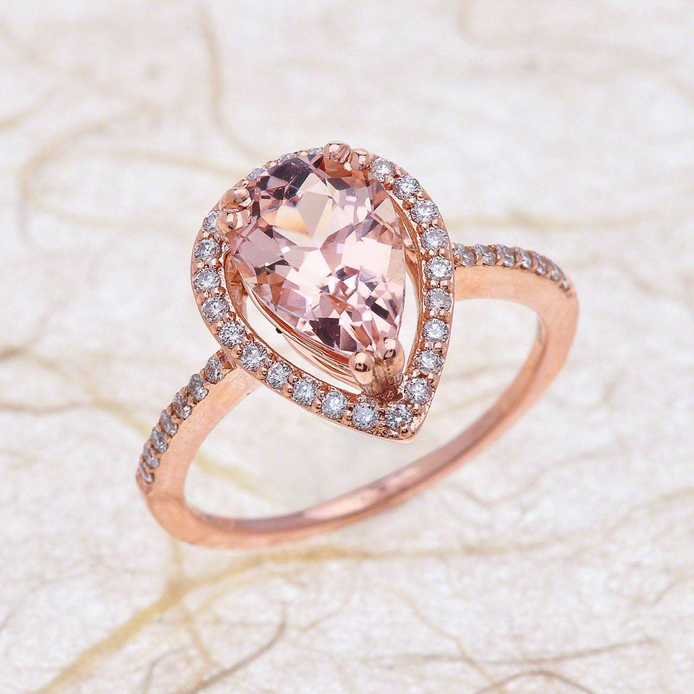Morganite Engagement Ring Rose Gold / Pear Shaped Teardrop Halo Basket  Design / October November Birthstone / Birthday Anniversary Gift Within Best And Newest Sparkling Teardrop Halo Rings (View 5 of 25)