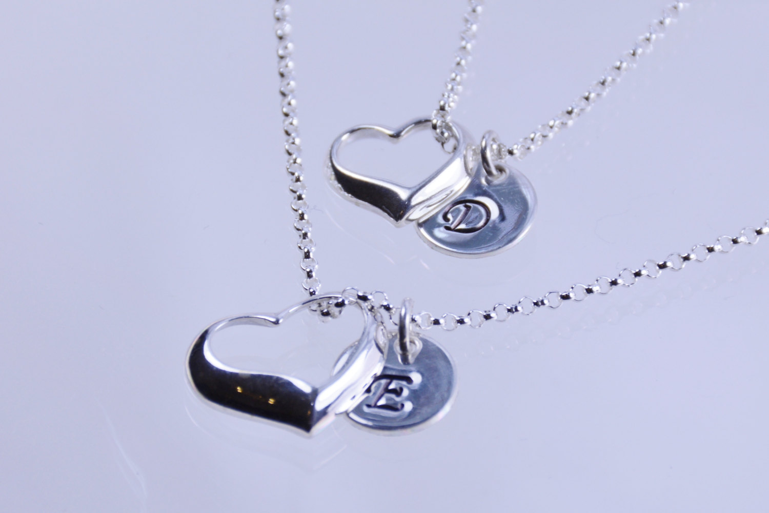 Mother Daughter Jewelry Initial Necklaces With Floating Heart Charm, Open Heart Necklaces For Recent Ribbon Open Heart Necklaces (Gallery 8 of 25)