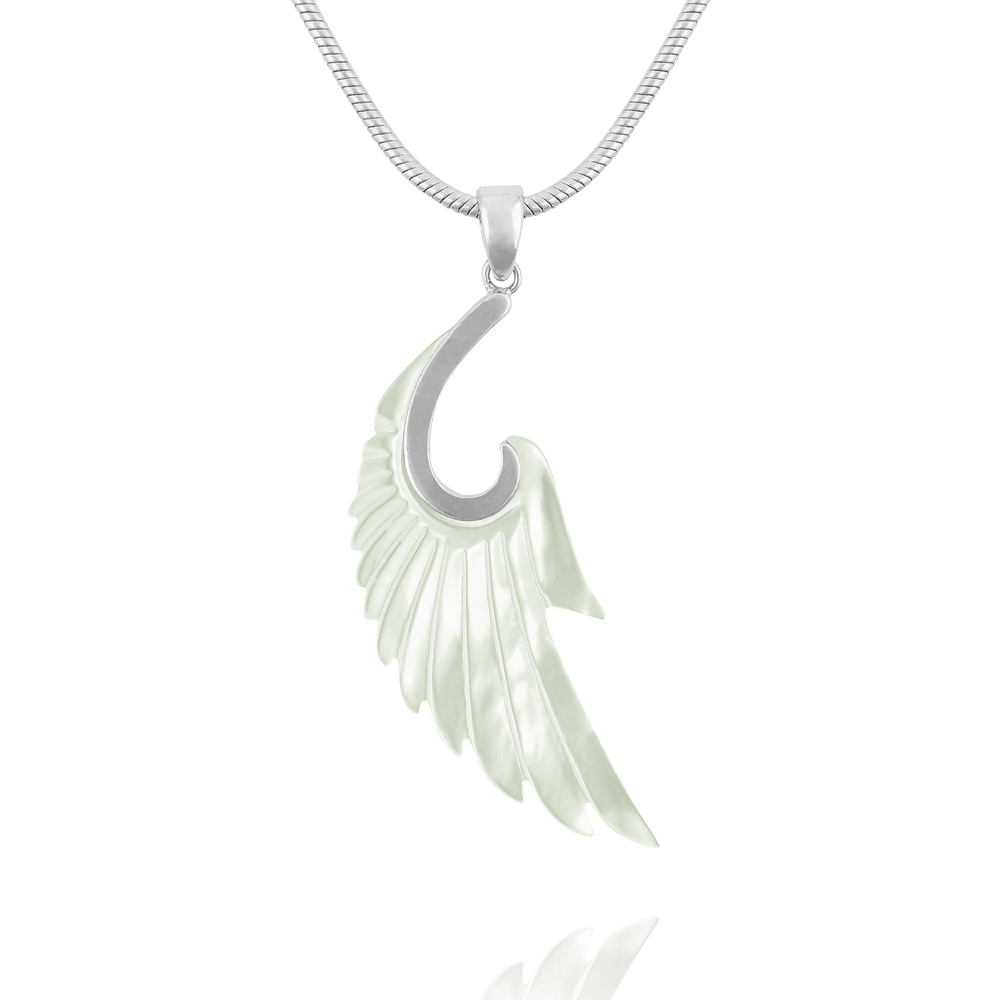 Mother Of Pearl Angel Wing Necklace (View 16 of 25)