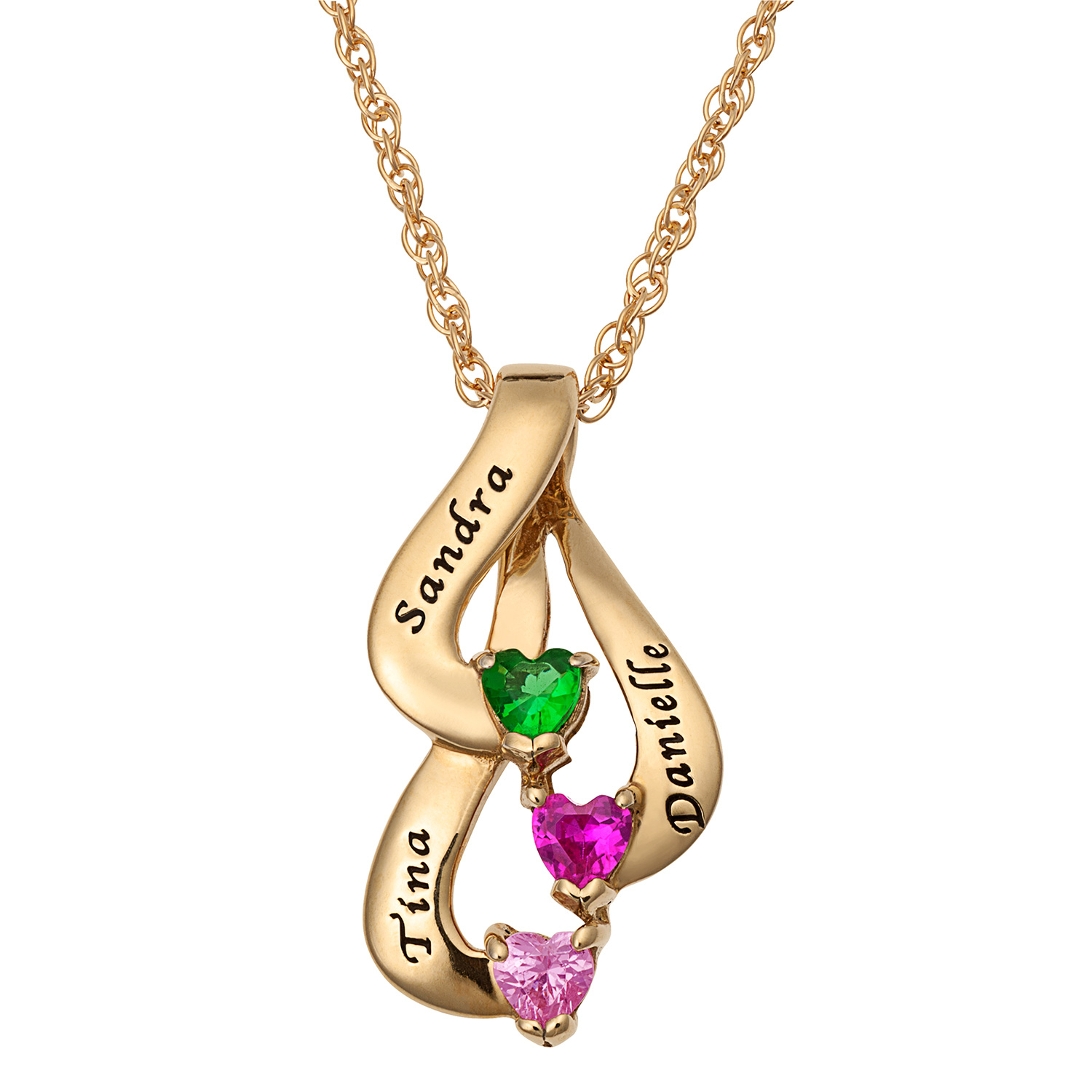 Mother's Heart Shaped Simulated Birthstone Ribbon Pendant In Sterling  Silver With 18K Gold Plate (2 3 Stones And Names)|Zales For 2020 Ribbon Open Heart Necklaces (Gallery 19 of 25)