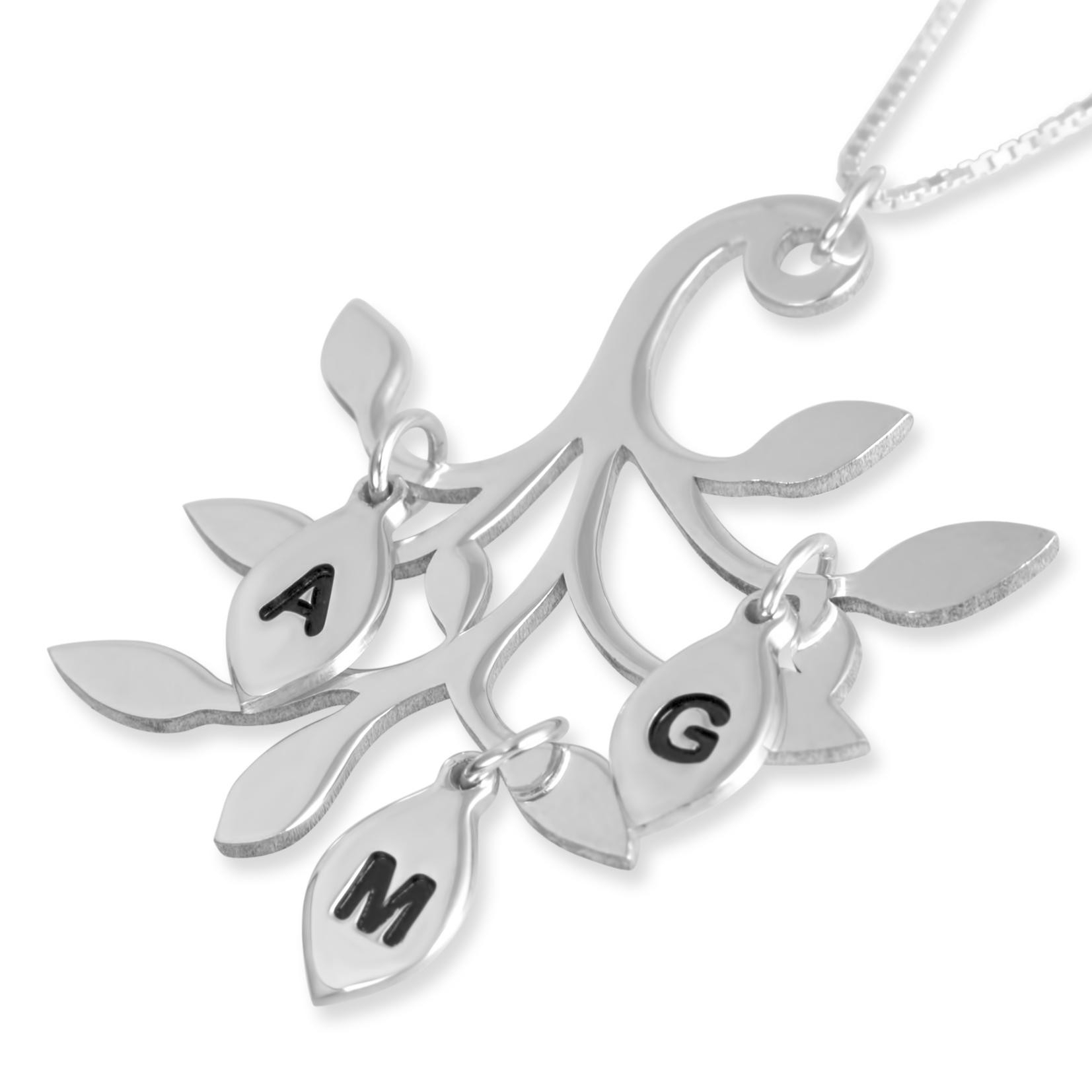 Mother's Necklace Family Tree Pendant, Large, Sterling Silver Intended For Newest Sparkling Family Tree Necklaces (View 11 of 25)