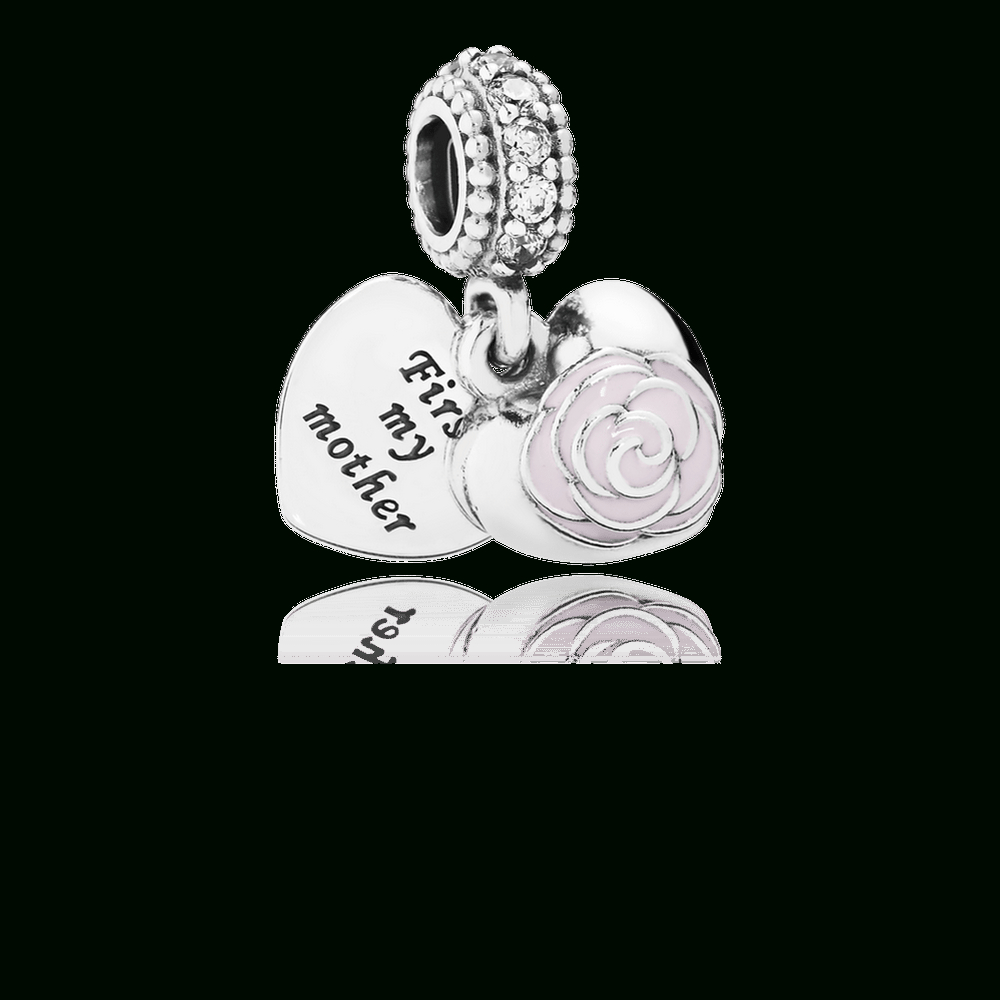 Mother's Rose Dangle Charm, Pink Enamel & Clear Cz Throughout Most Current Clear Heart Beaded Rings (Gallery 23 of 25)